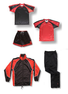 Spitfire soccer team package in black / red by Code Four Athletics