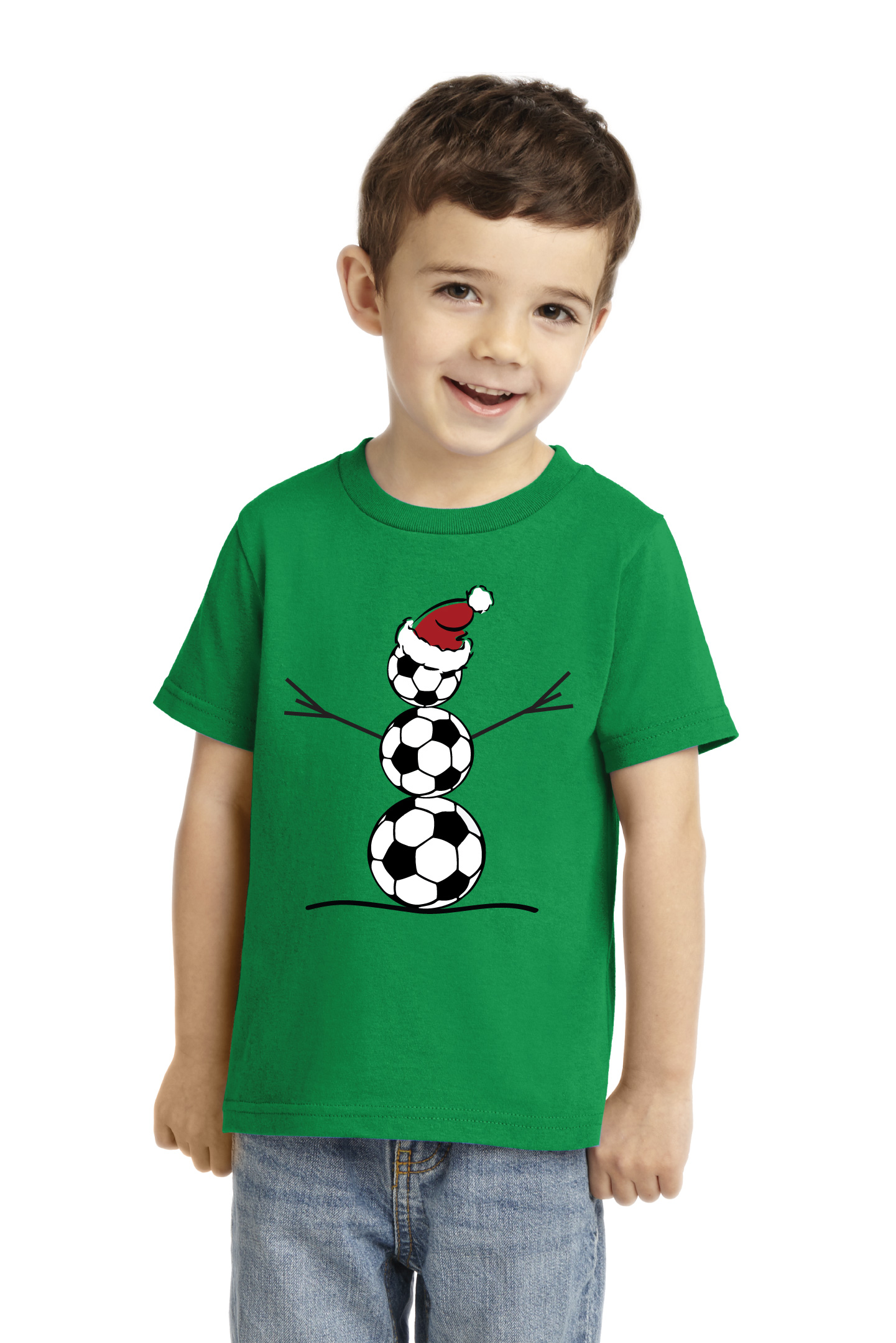 Soccer Snowman T-shirt on toddler model by Code Four Athletics