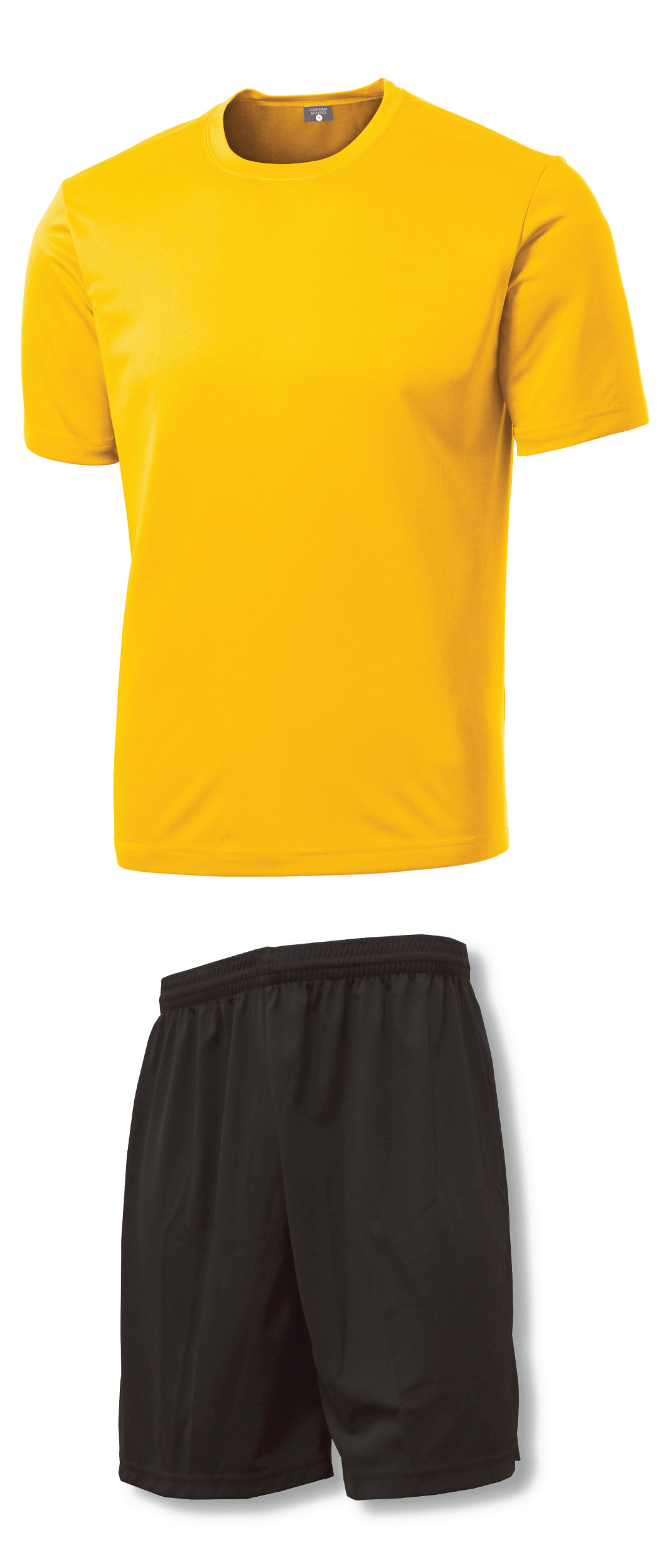Soccer Uniform Training Kit with gold jersey and shorts by Code Four Athletics