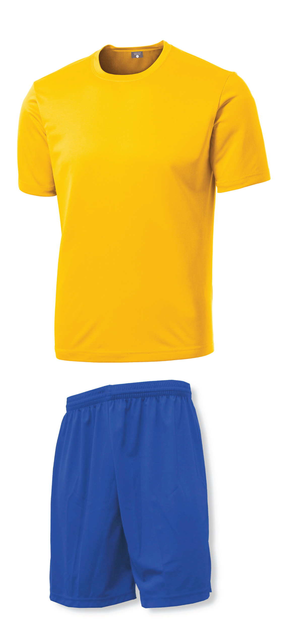 Soccer Training Kit with Gold Jersey and Royal shorts by Code Four Athletics