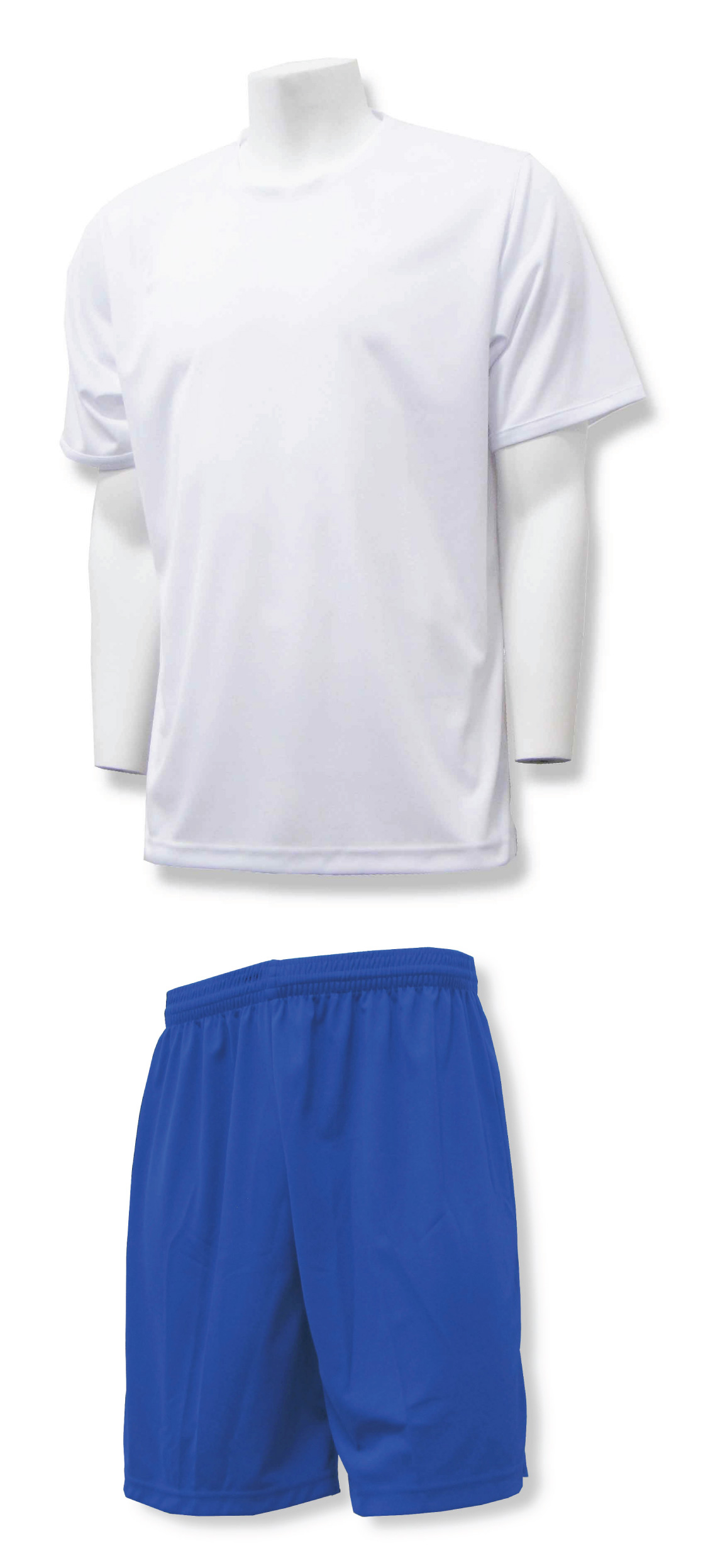 Soccer training uniform kit in white/royal by Code Four Athletics