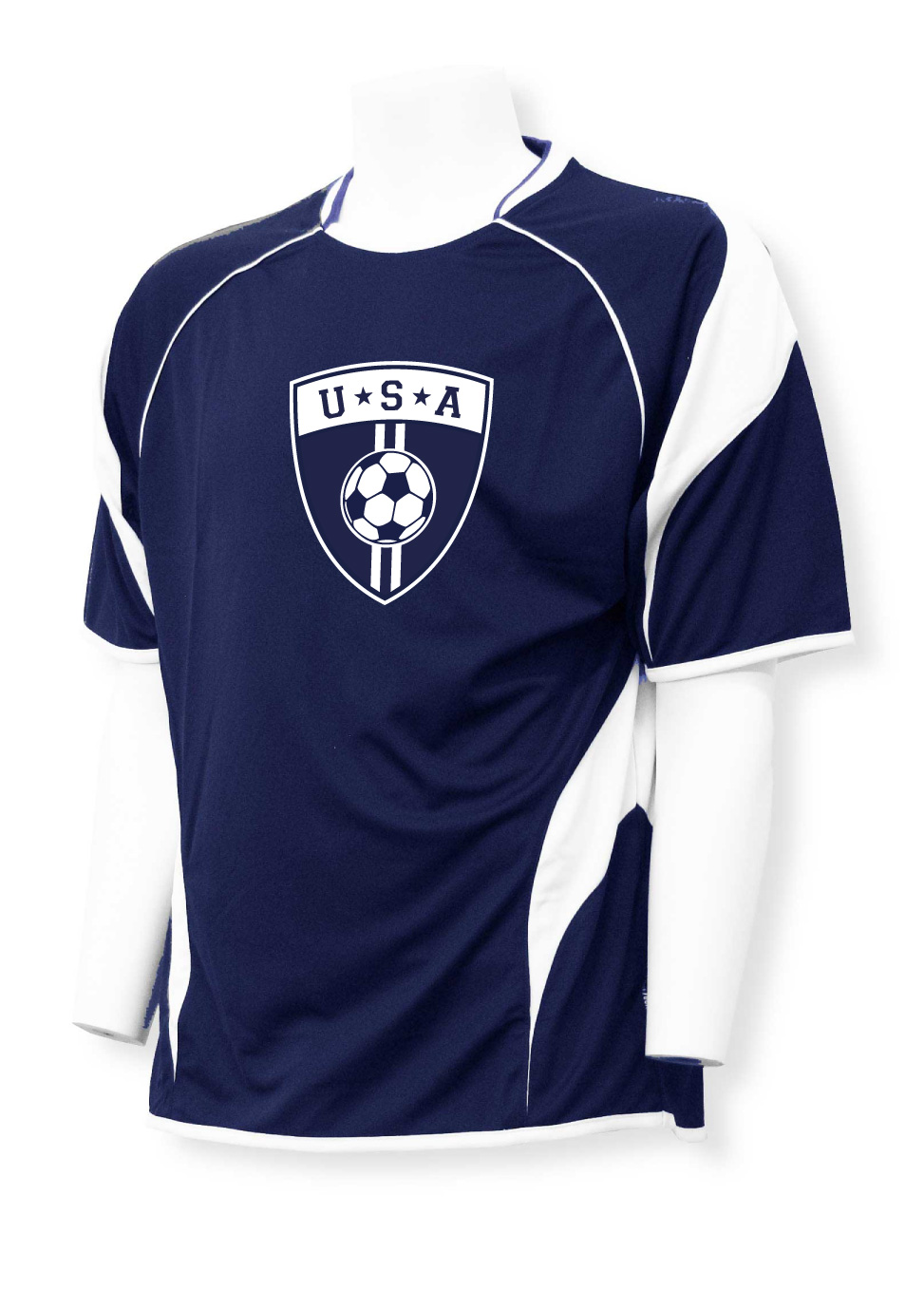 USA Soccer jersey in navy blue with USA soccer crest logo by Code Four Athletics