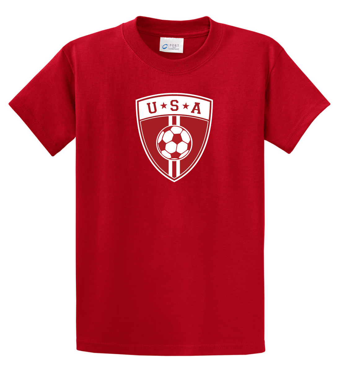 USA soccer T-shirt in red for youths and adults, by Code Four Athletics