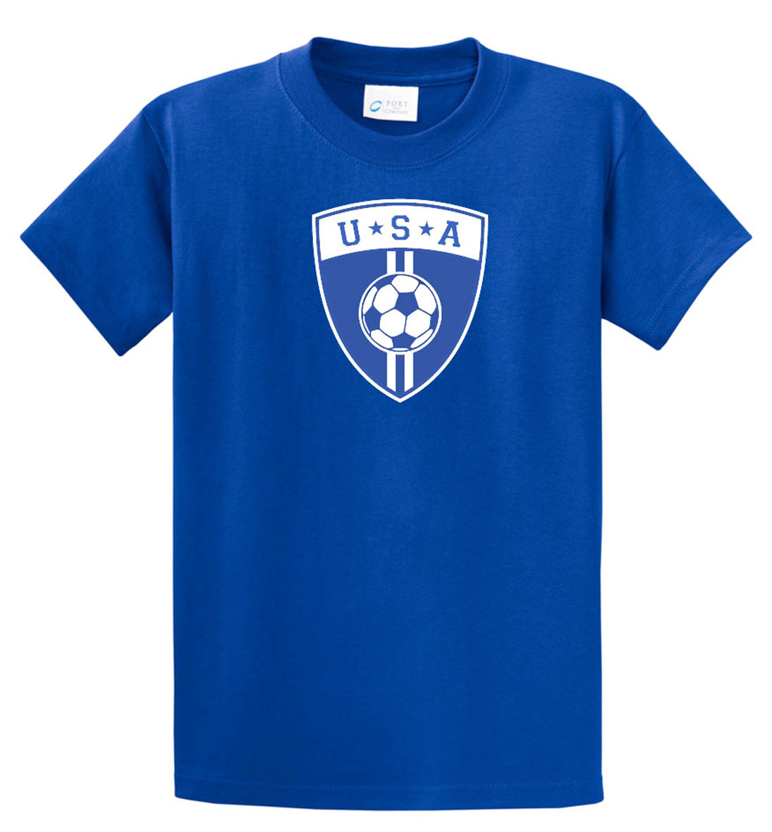 USA soccer T shirt in royal blue for youths and adults by Code Four Athletics