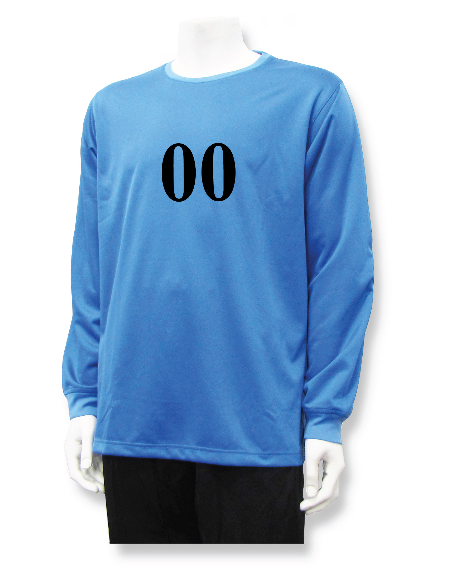 Long sleeve soccer goalie jersey with number, in Colubmia Blue, by Code Four Athletics