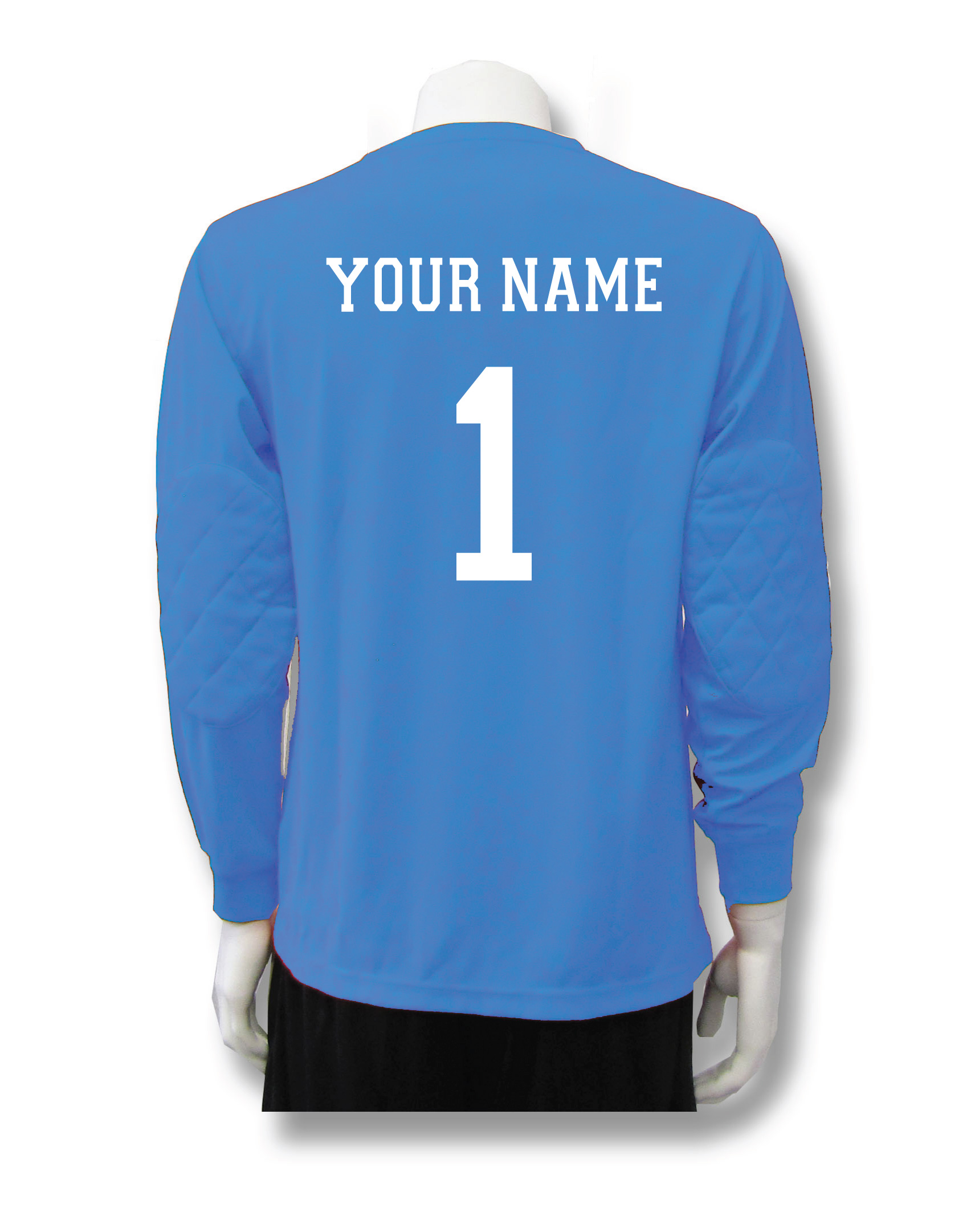 Long sleeve Columbia Blue soccer keeper jersey with name and number by Code Four Athletics