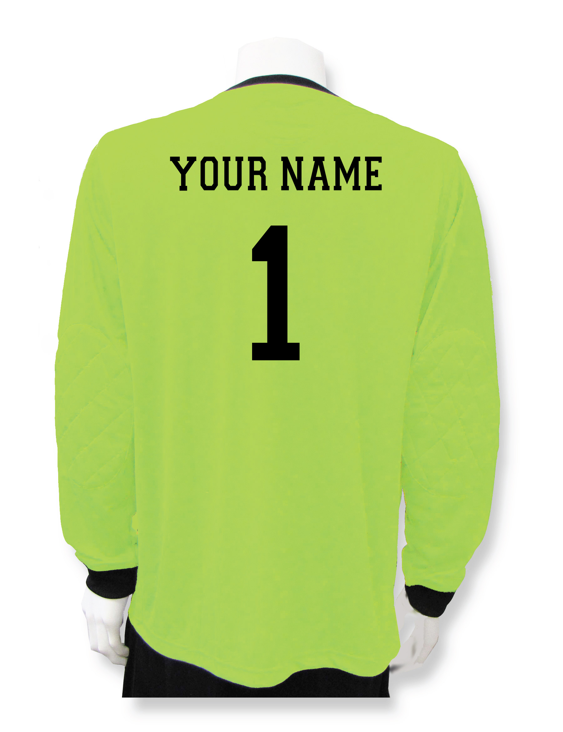 Long sleeve soccer goalie jersey in lime with name and number on back