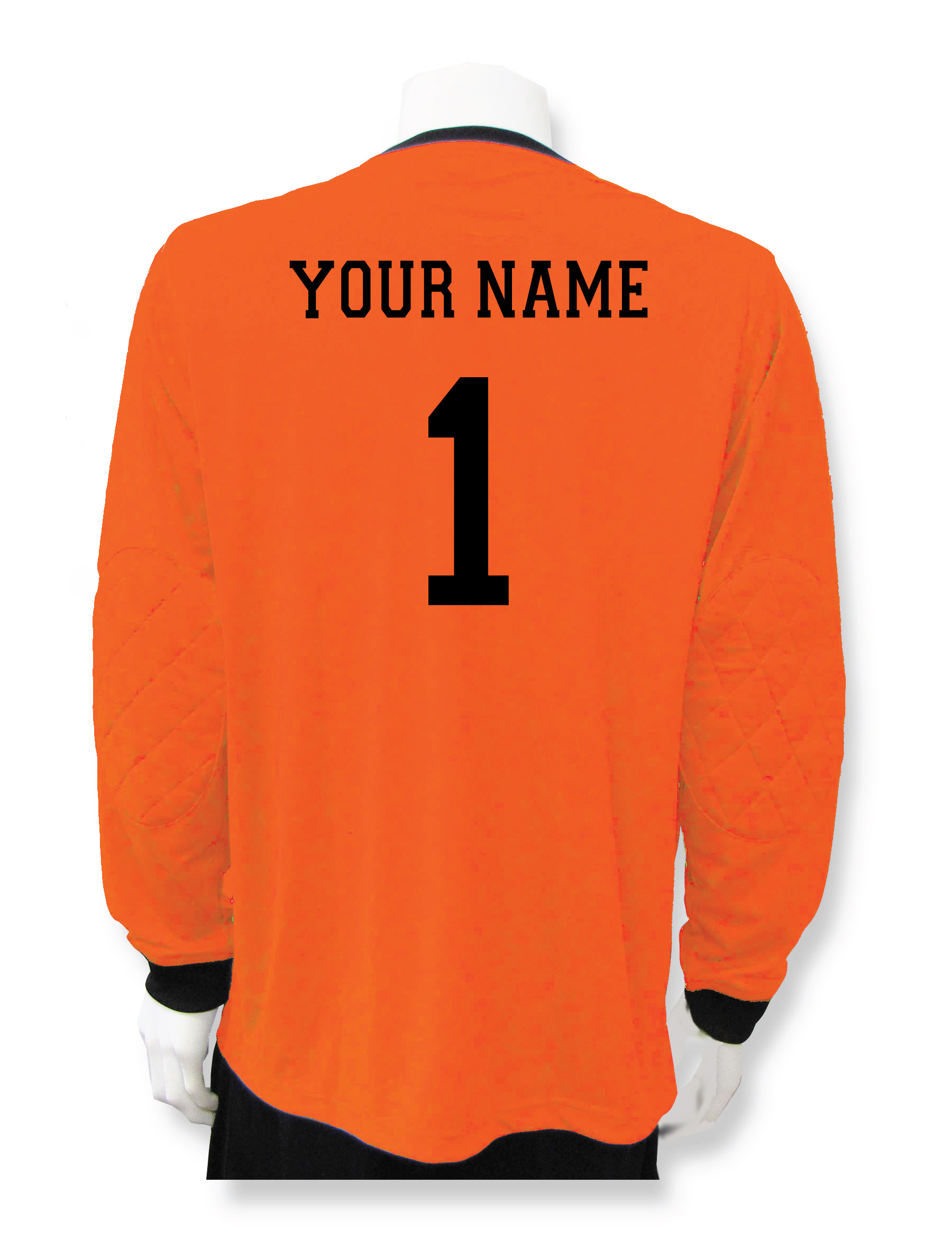 Long sleeve soccer keeper jersey in orange with name and number on back by Code Four Athletics