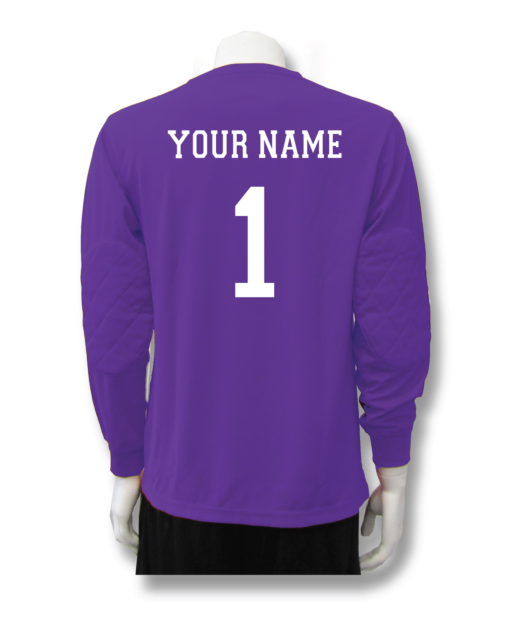 Long sleeve soccer goalie jersey in red with name and number by Code Four Athletics