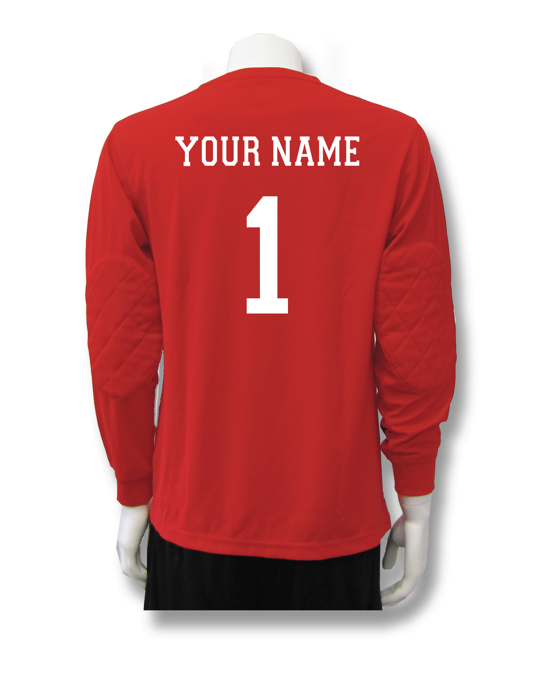 Long sleeve soccer keeper jersey in red with name and number by Code Four Athletics