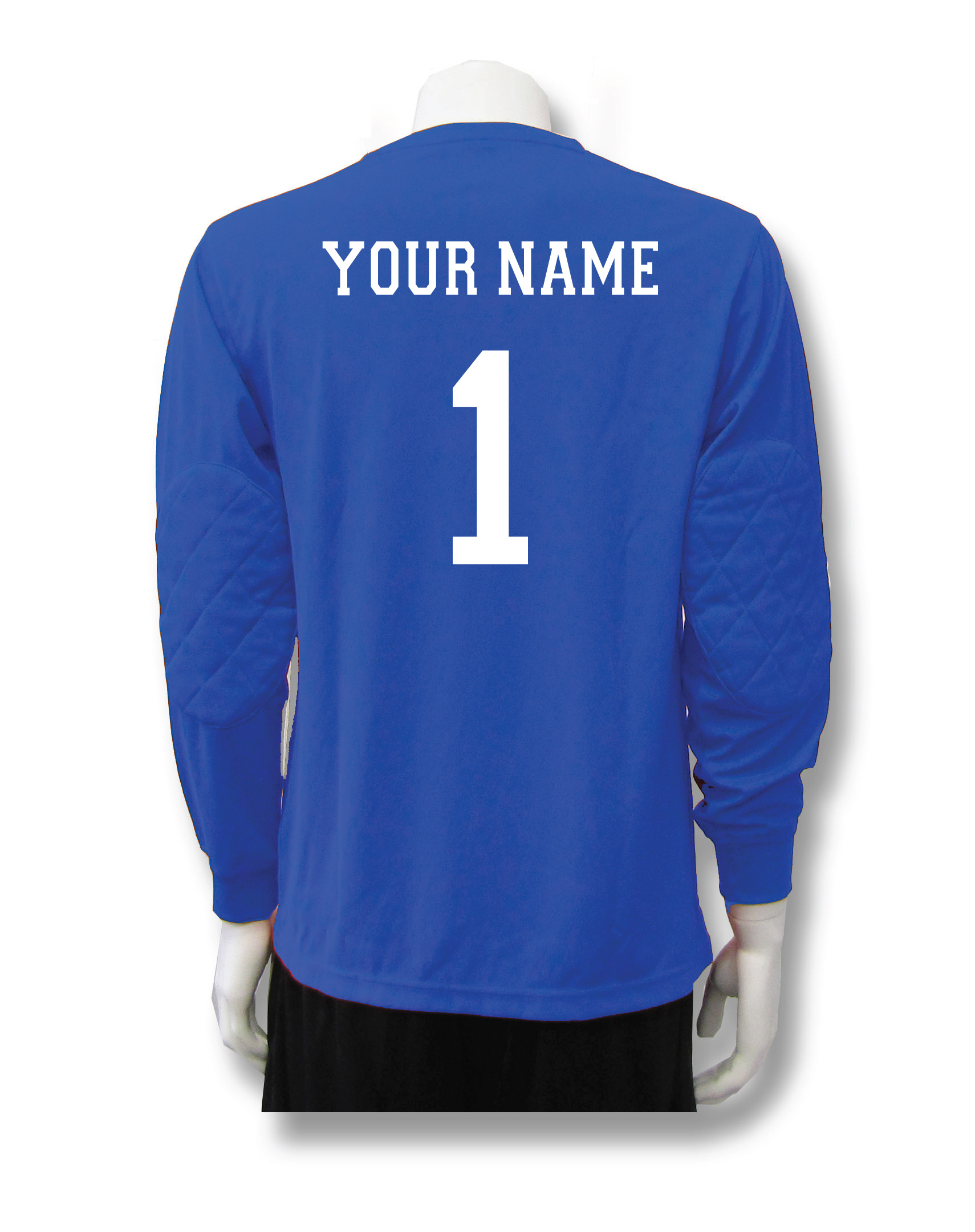 Long sleeve soccer keeper jersey in royal blue with name and number by Code Four Athletics