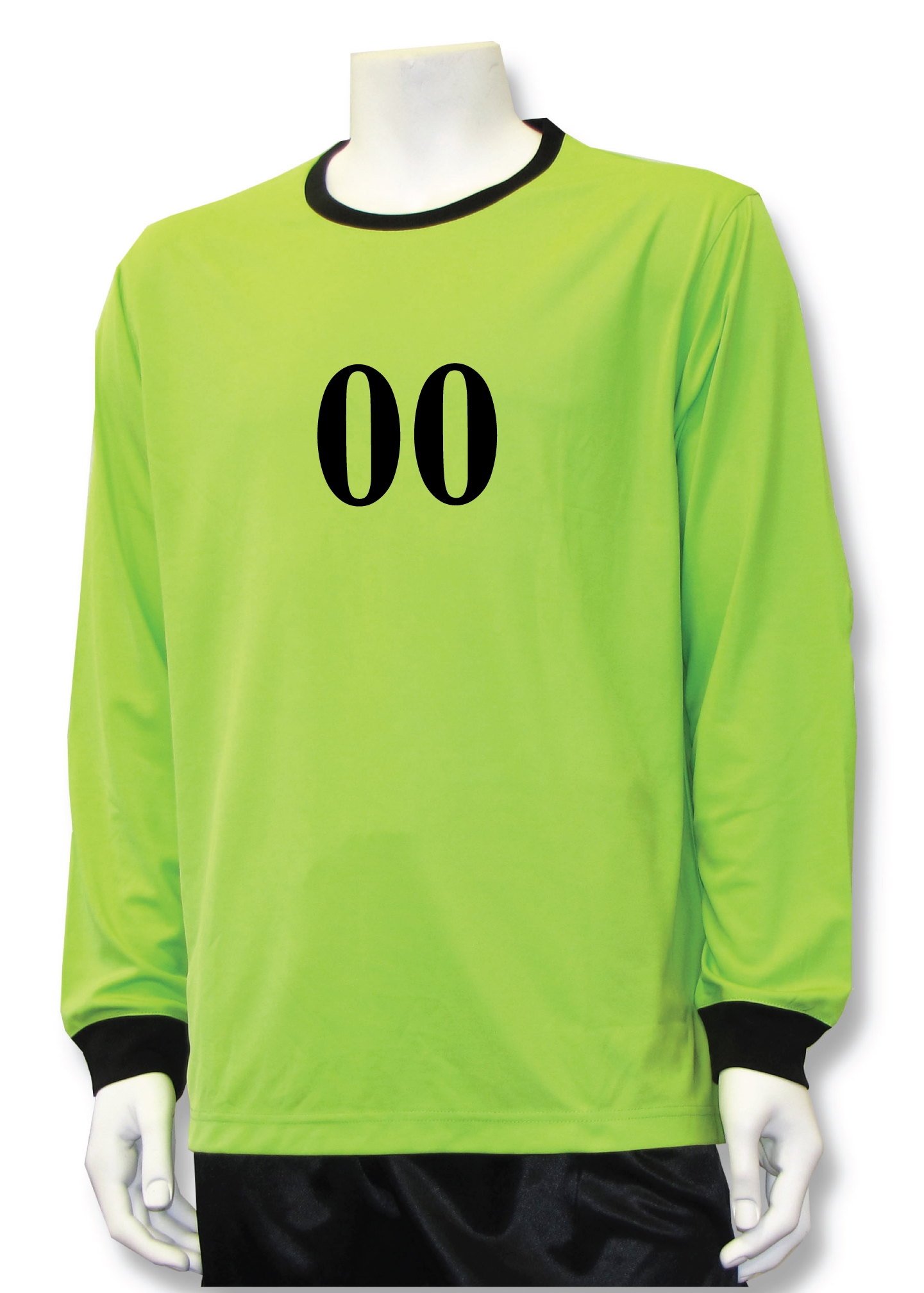 Long sleeve soccer goalie jersey with number, in lime, by Code Four Athletics