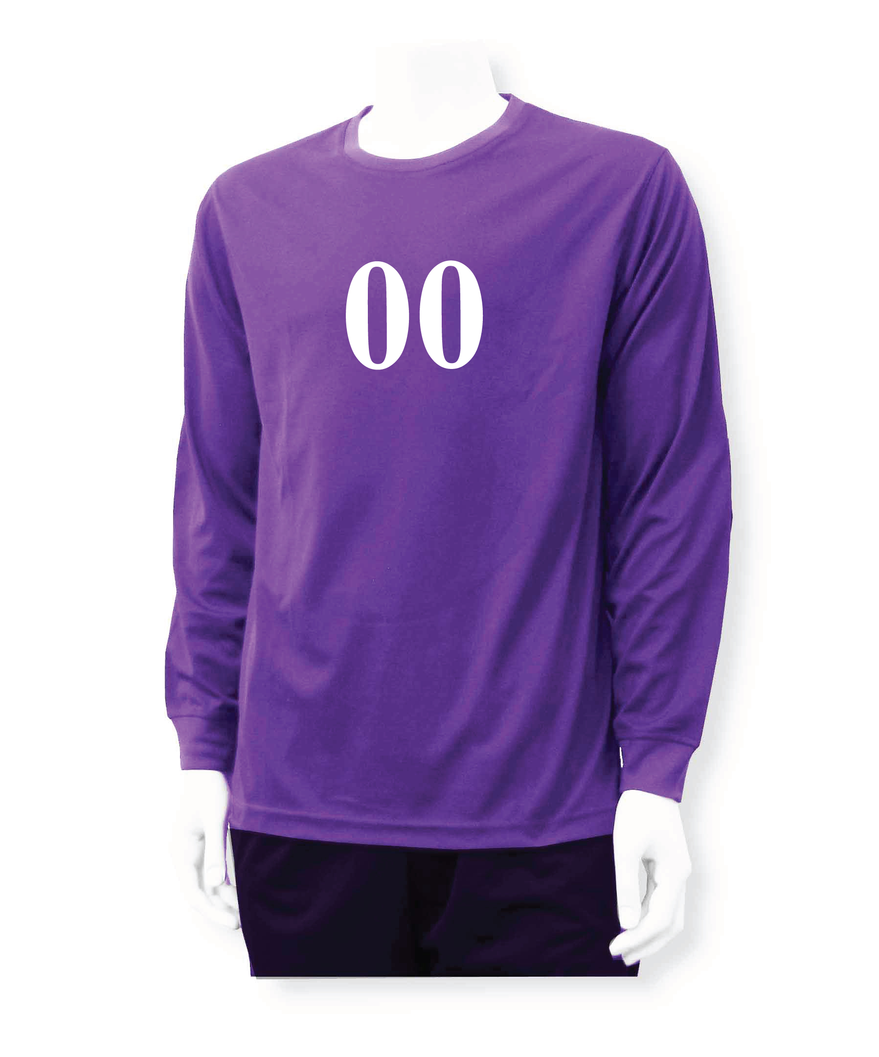 Long sleeve soccer goalie jersey, with number, in purple by Code Four Athletics