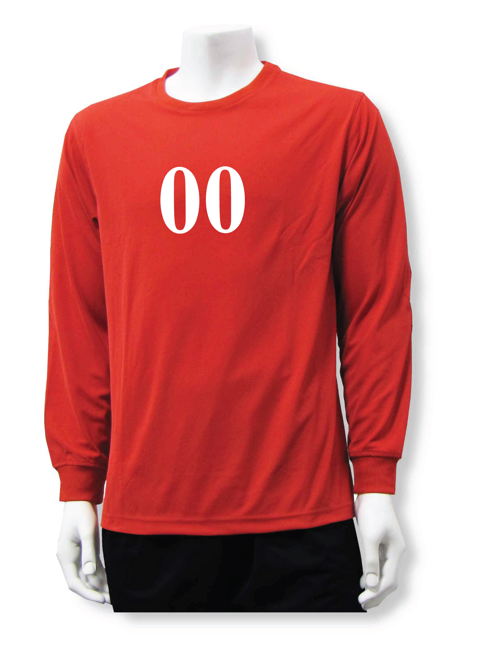 Long sleeve soccer goalie jersey with numbe, in red, by Code Four Athletics