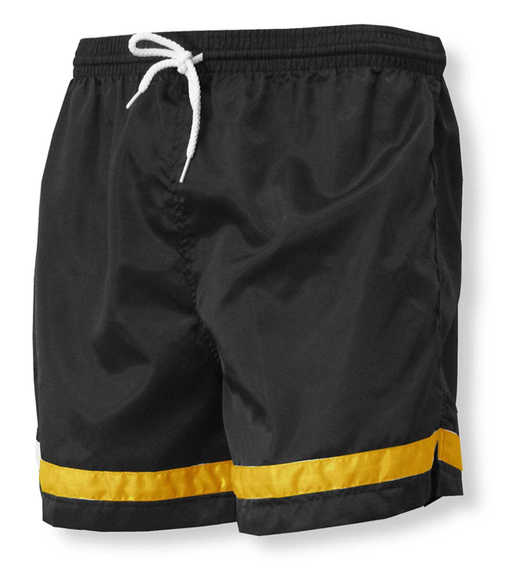Vashon soccer shorts in black/gold nylon by Code Four Athletics