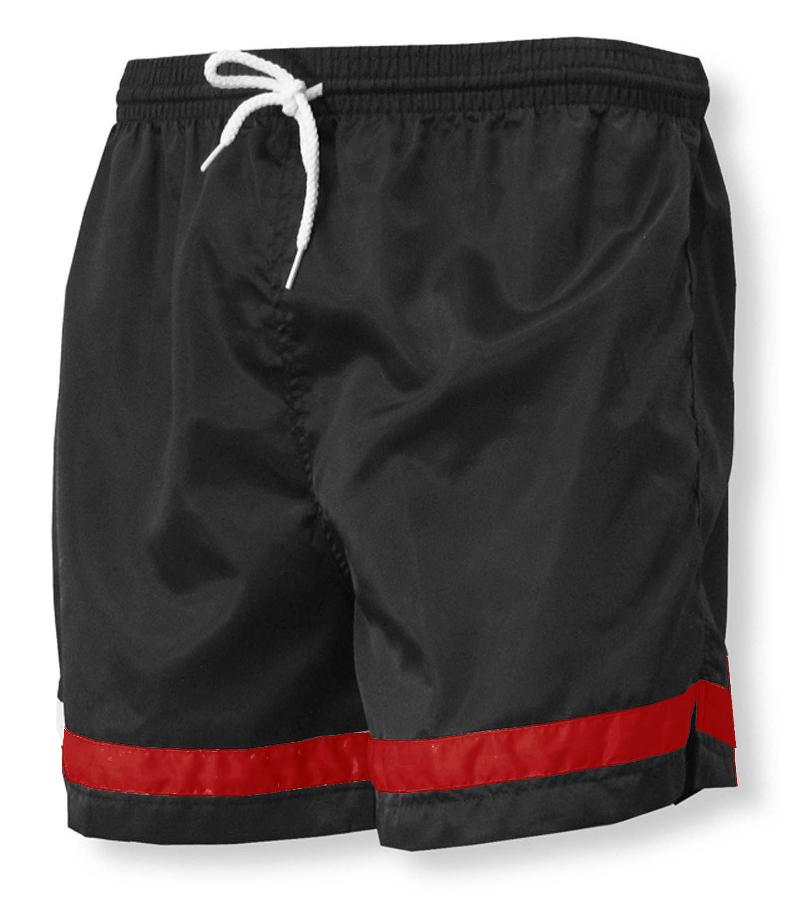 Vashon soccer shorts in black/red by Code Four Athletics