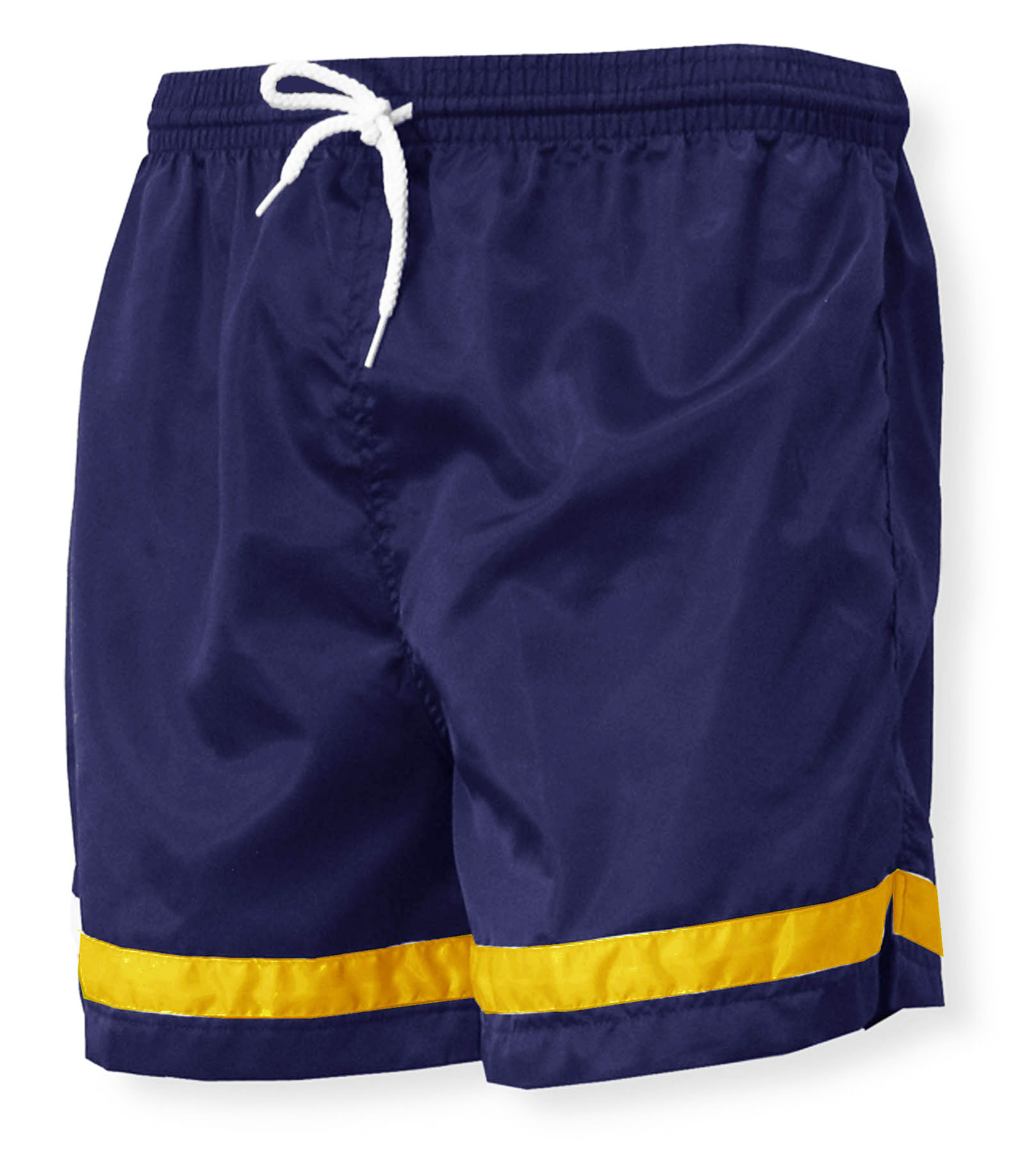 Vashon nylon soccer shorts in navy with gold stripes by Code Four athletics