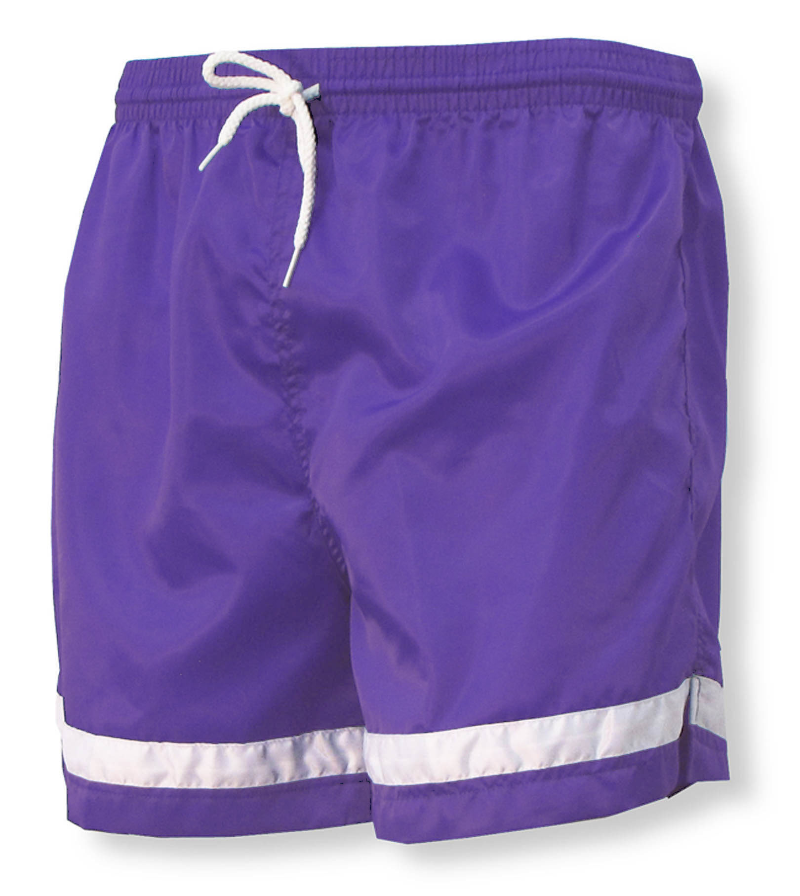 Code Four Athletics nylon soccer shorts in purple / white by Code Four Athletics