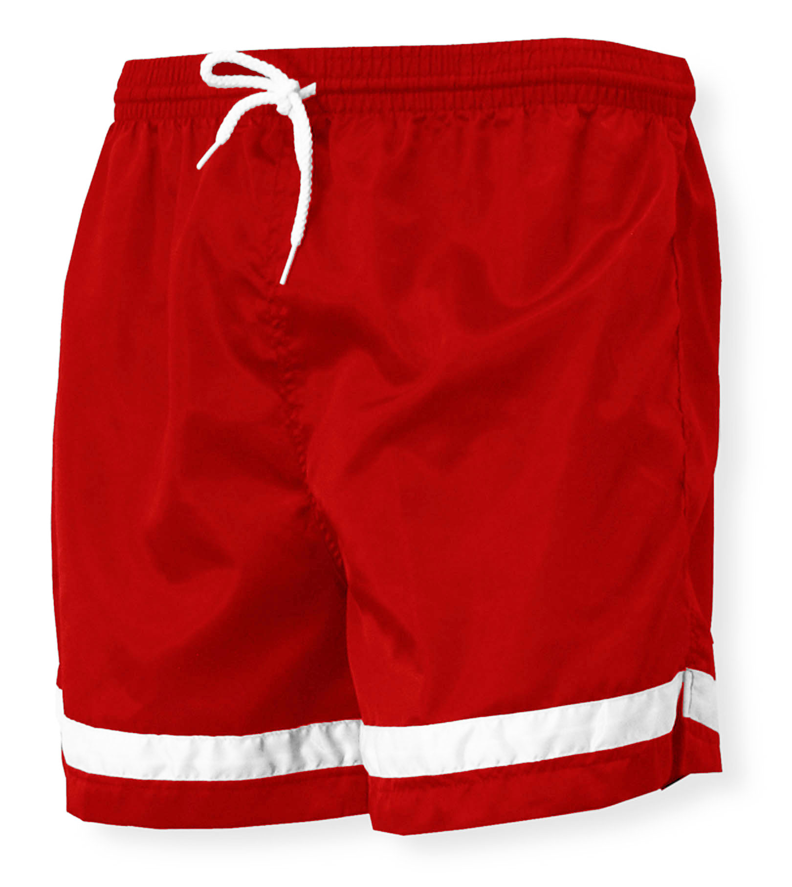 Vashon nylon soccer shorts in red with white striping by Code Four Athletics