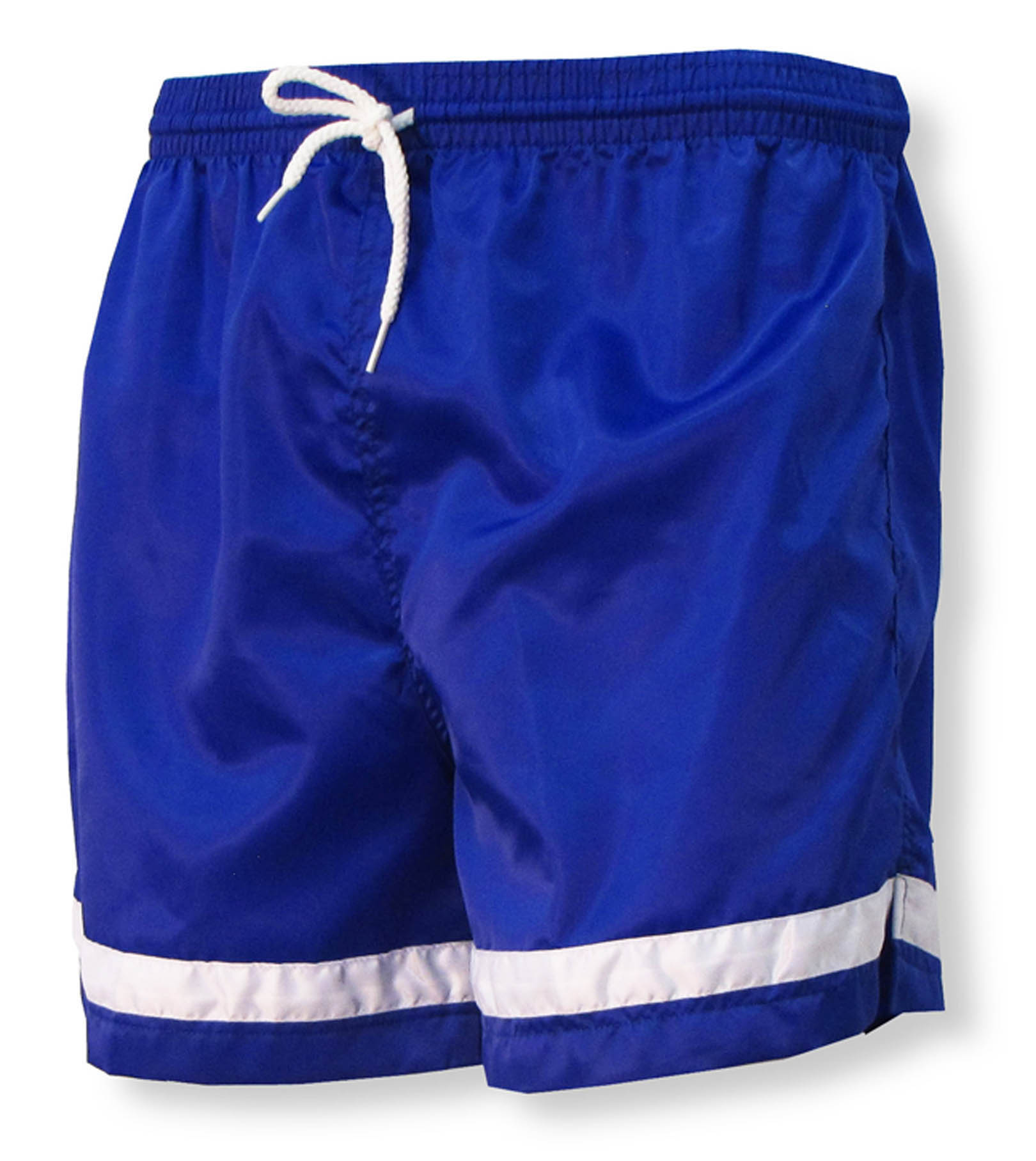 Vashon soccer nylon shorts in royal/white by Code Four Athletics