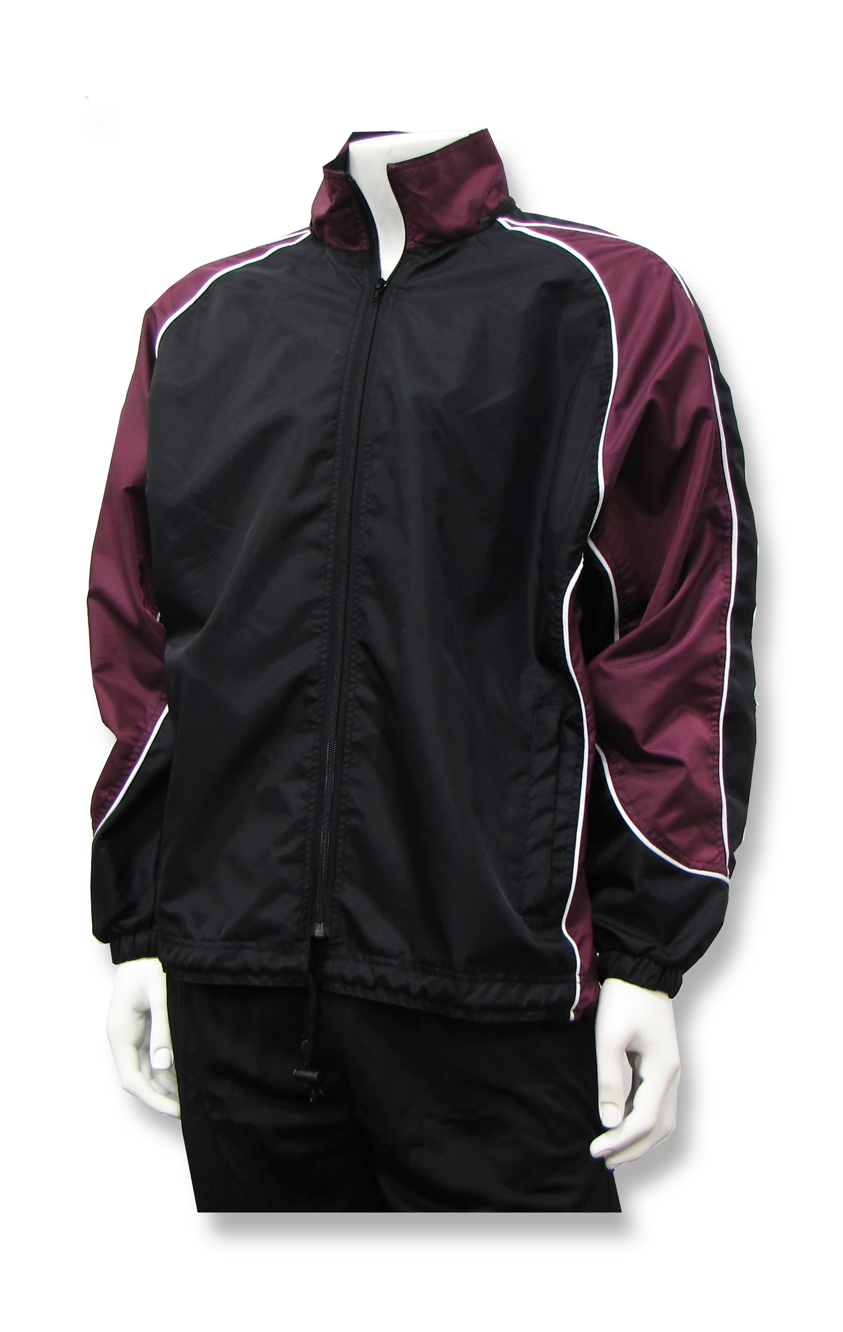 Viper soccer rain jacket in black/maroon by Code Four Athletlcs