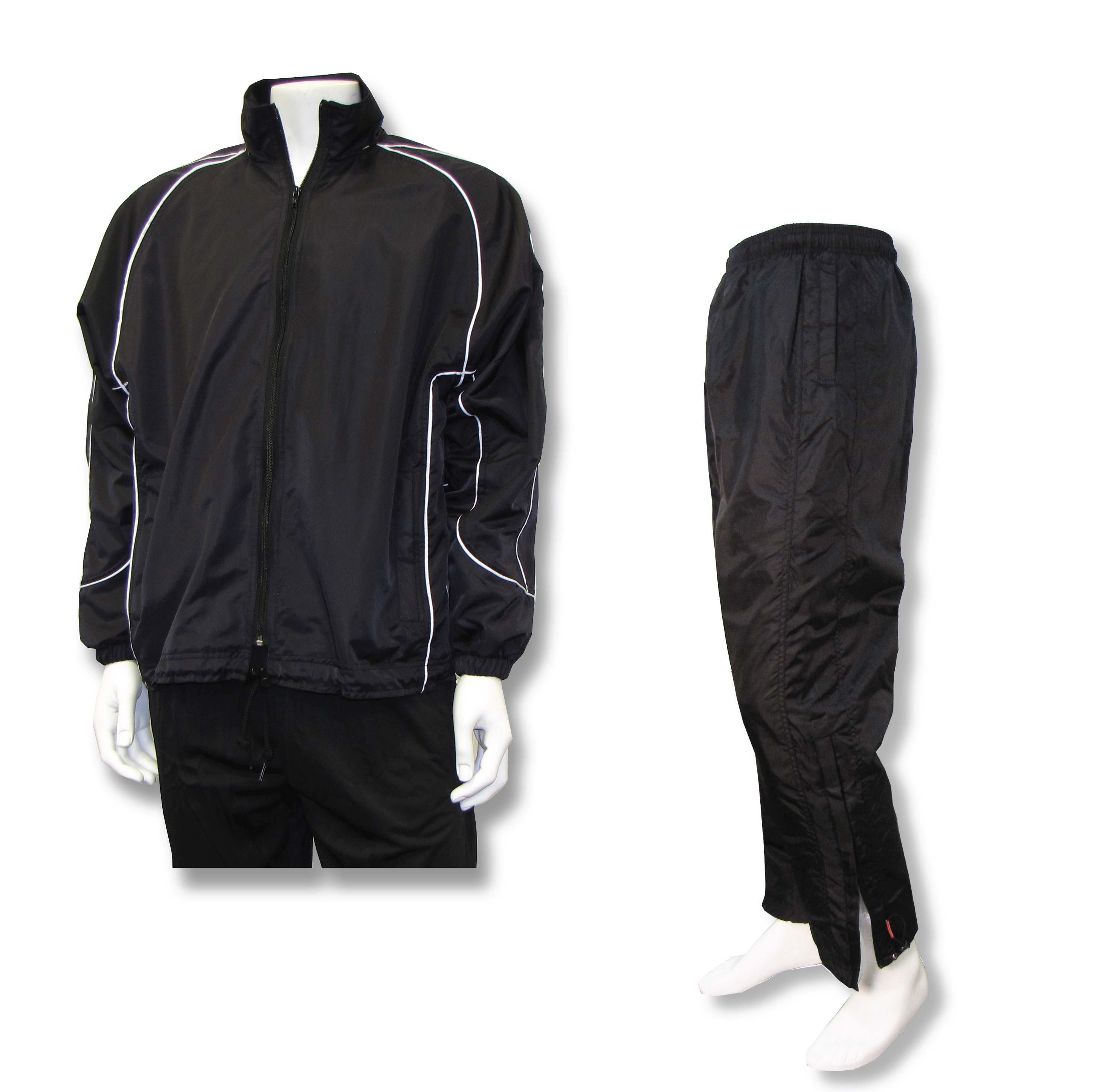 Water resistant warmup set in black by Code Four Athletics
