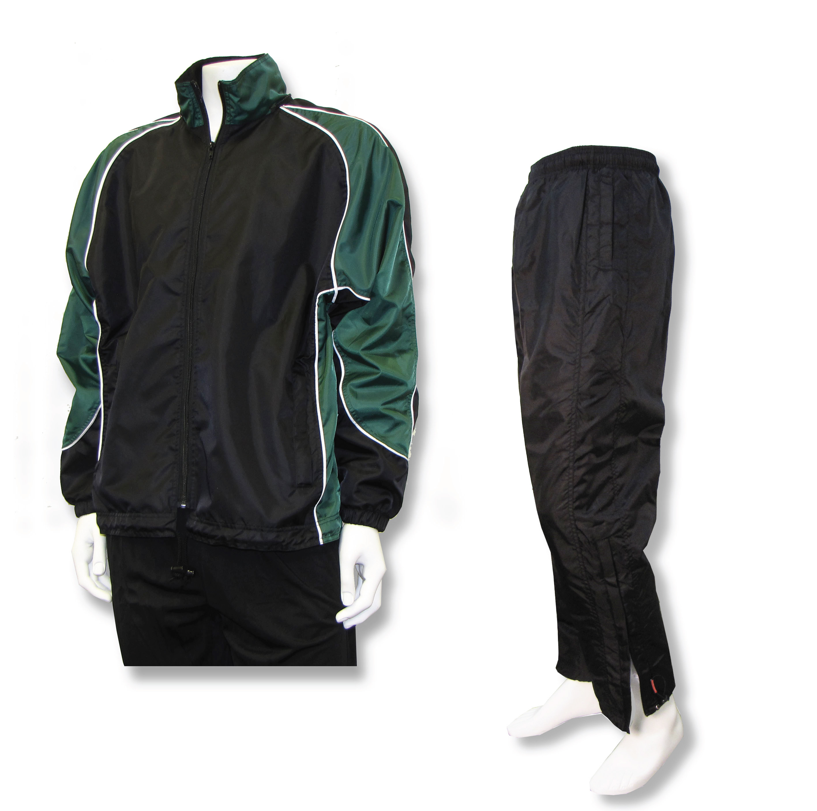 Water resistant warmup set with black/forest jacket and black pants by Code Four Athletics