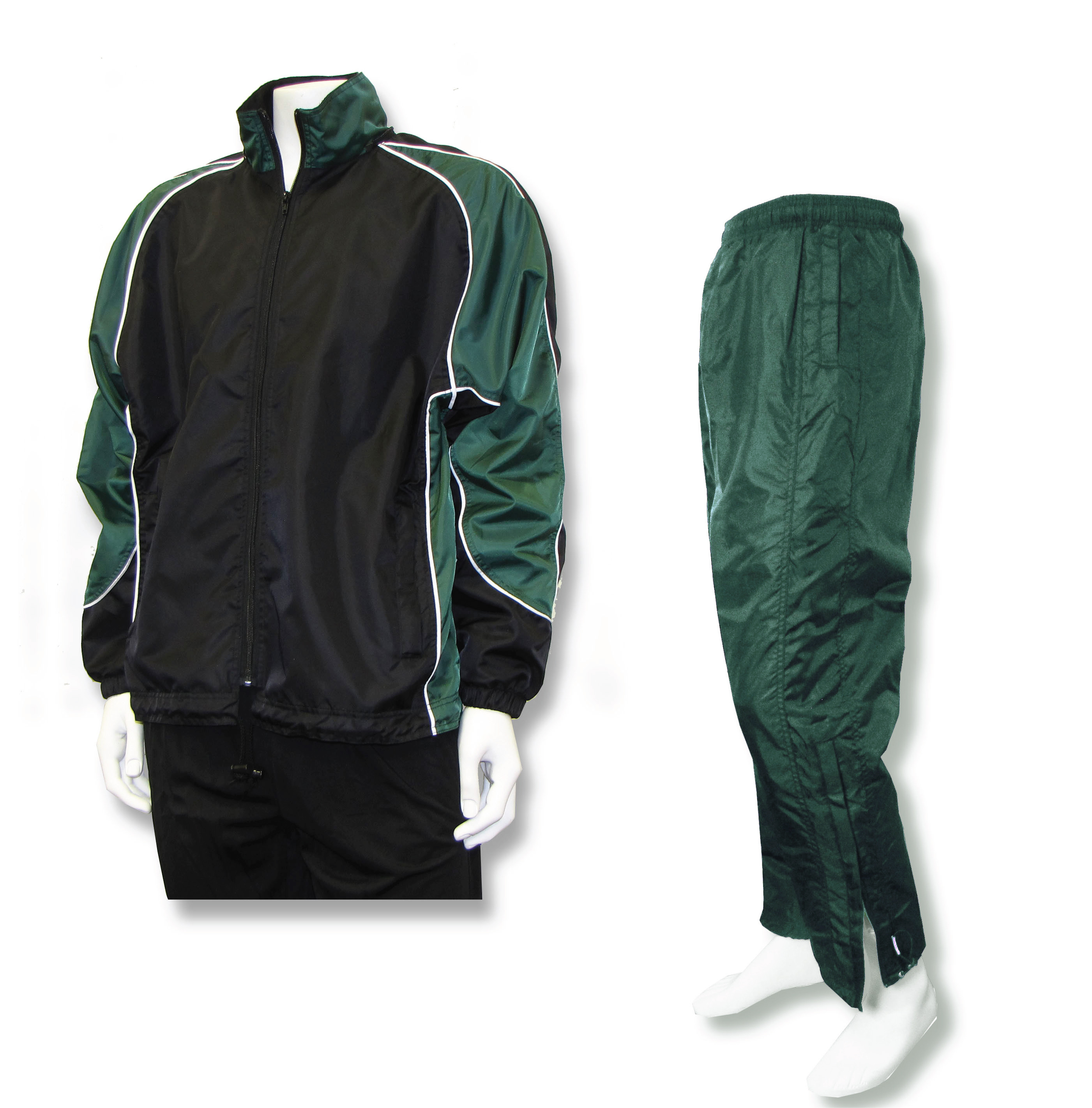 Viper warmup set with black/foreset jacket and forest pants by Code Four Athletics
