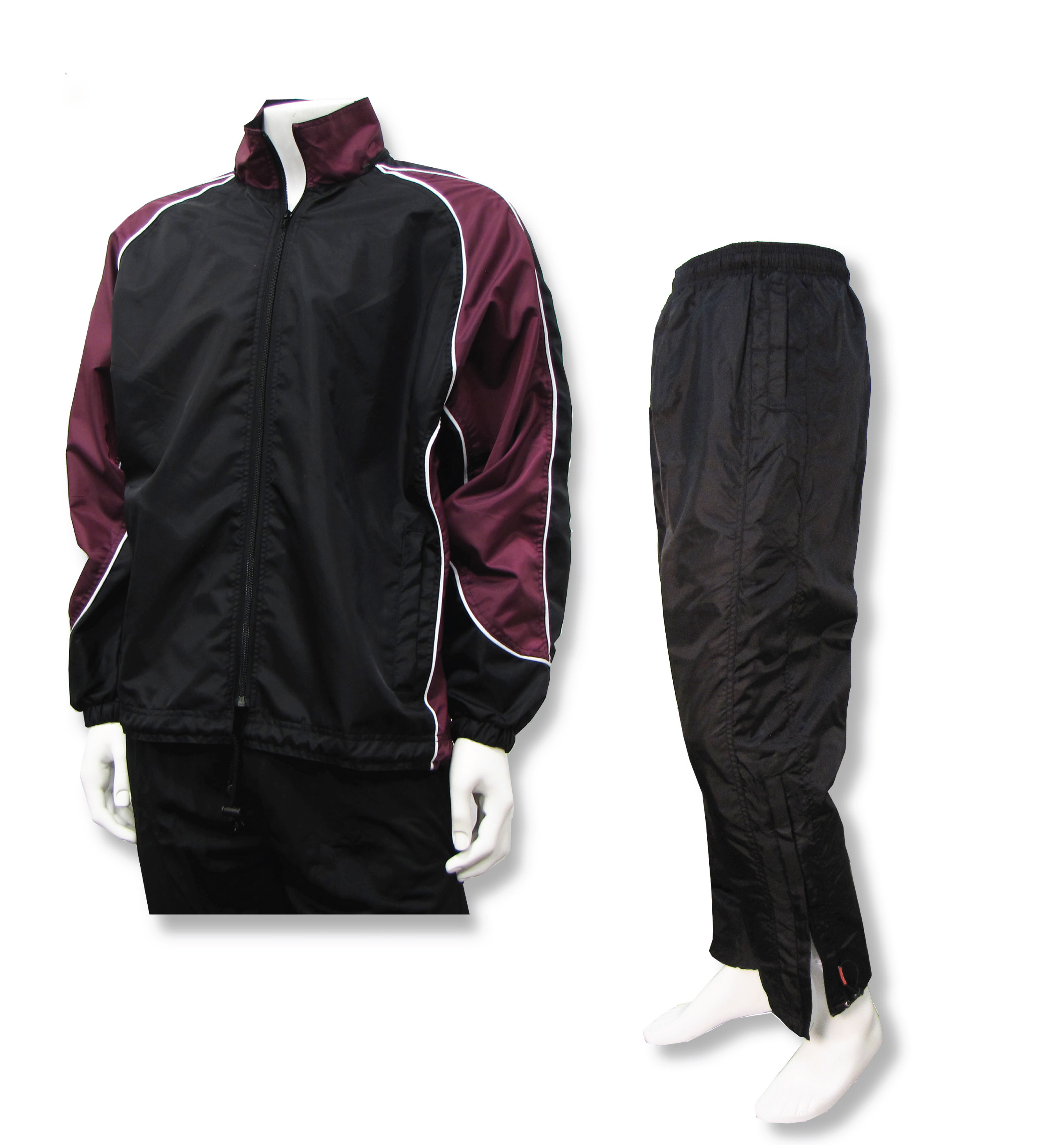 Water resistant warmup set in maroon/black by Code Four Athletics