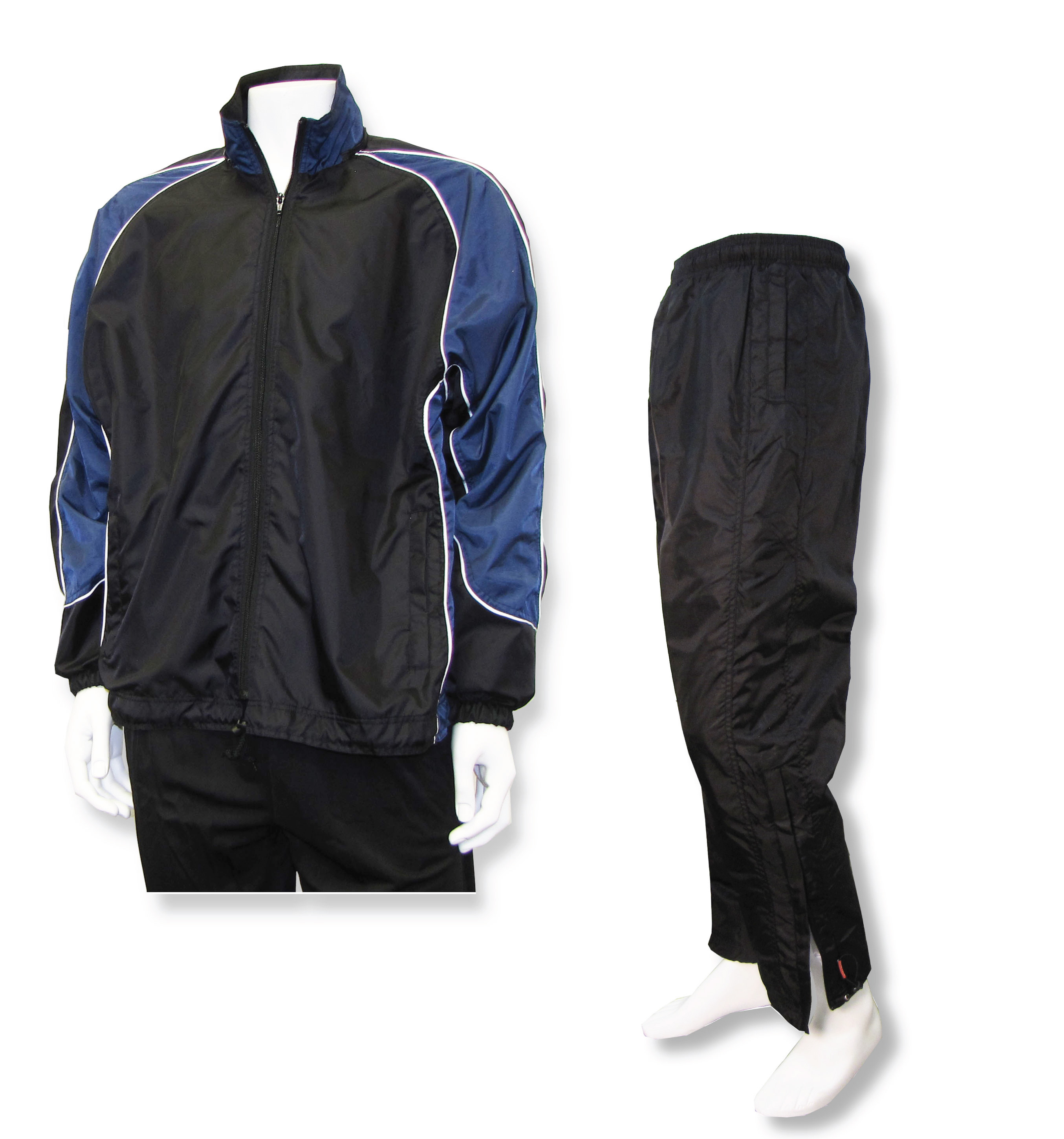 Viper warmup set with black/navy jacket and black pants by Code Four Athletics