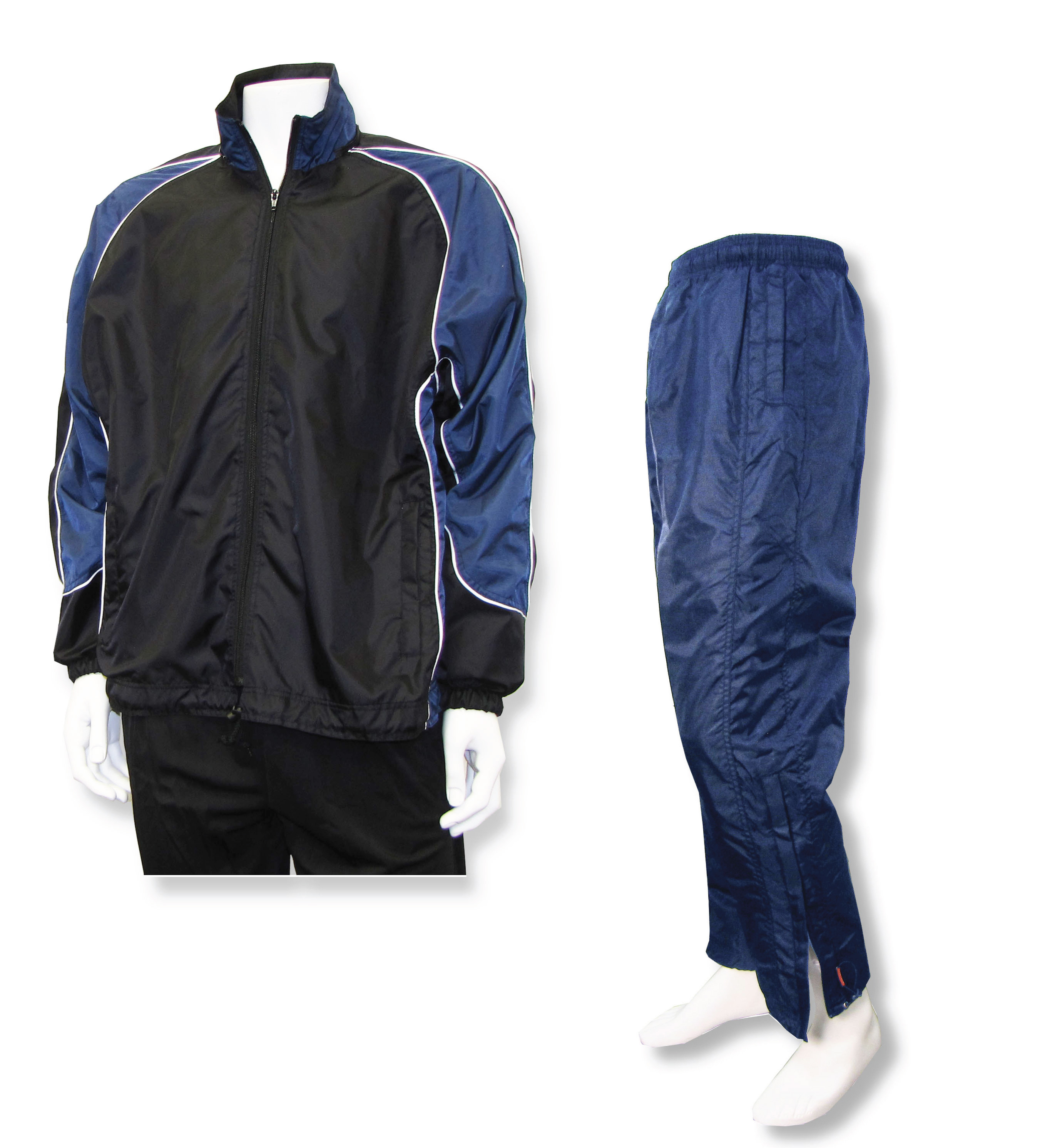 Viper warmup set with black/navy jacket and navy pants by Code Four Athletics