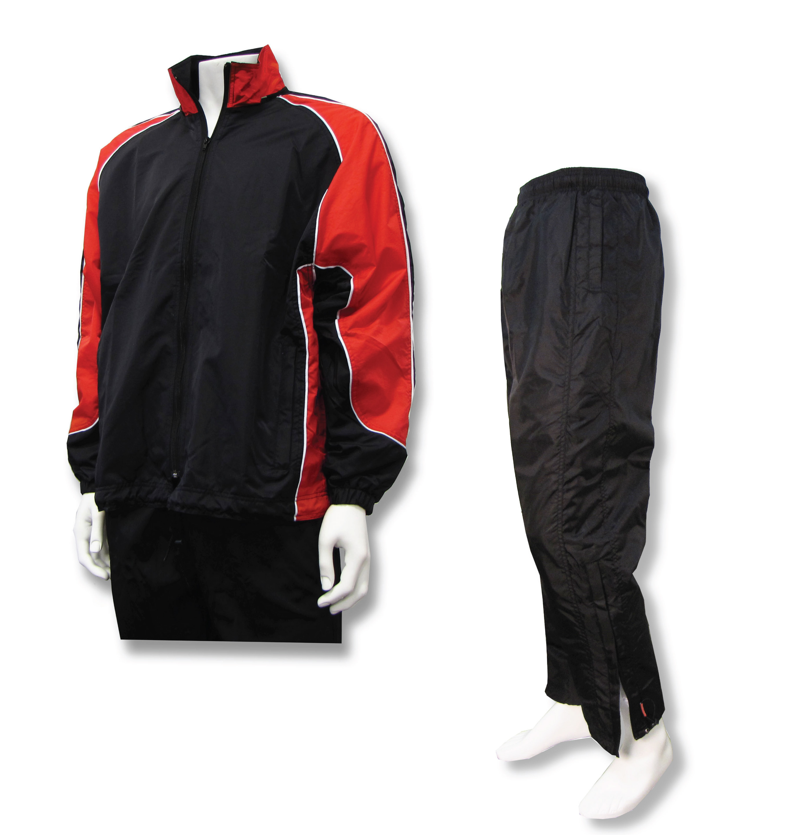 Viper warmup set with black/red jacket and black pants by Code Four Athletics