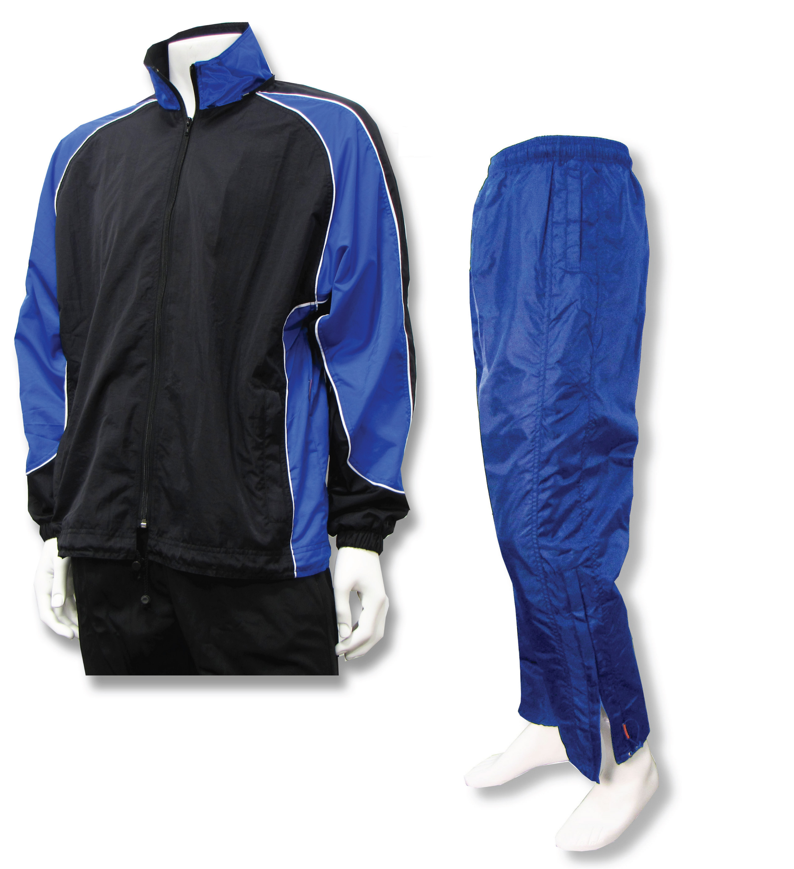 Water resistant warmup set with royal pants by Code Four Athletics