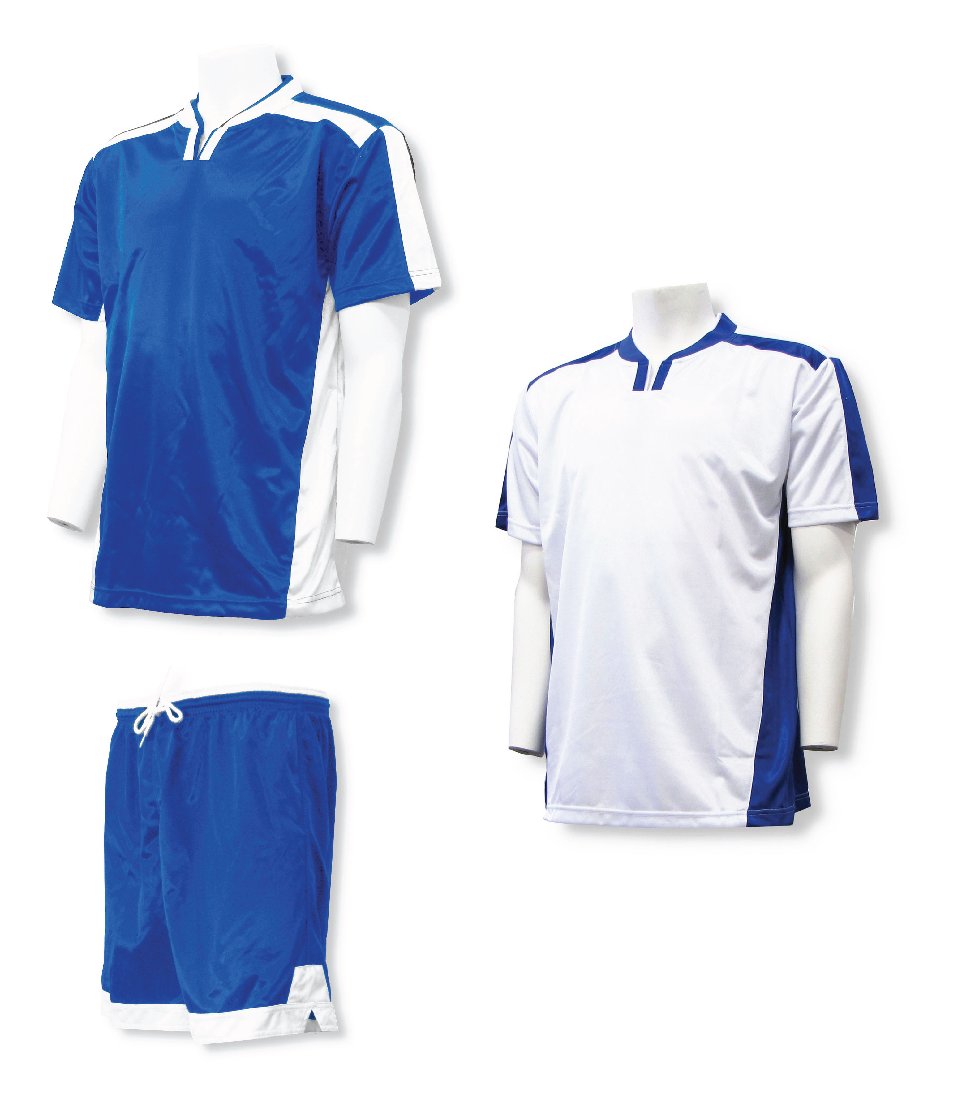 Winchester soccer uniform kit with 2 jerseys, 1 pr shorts in royal/white by Code Four Athletics