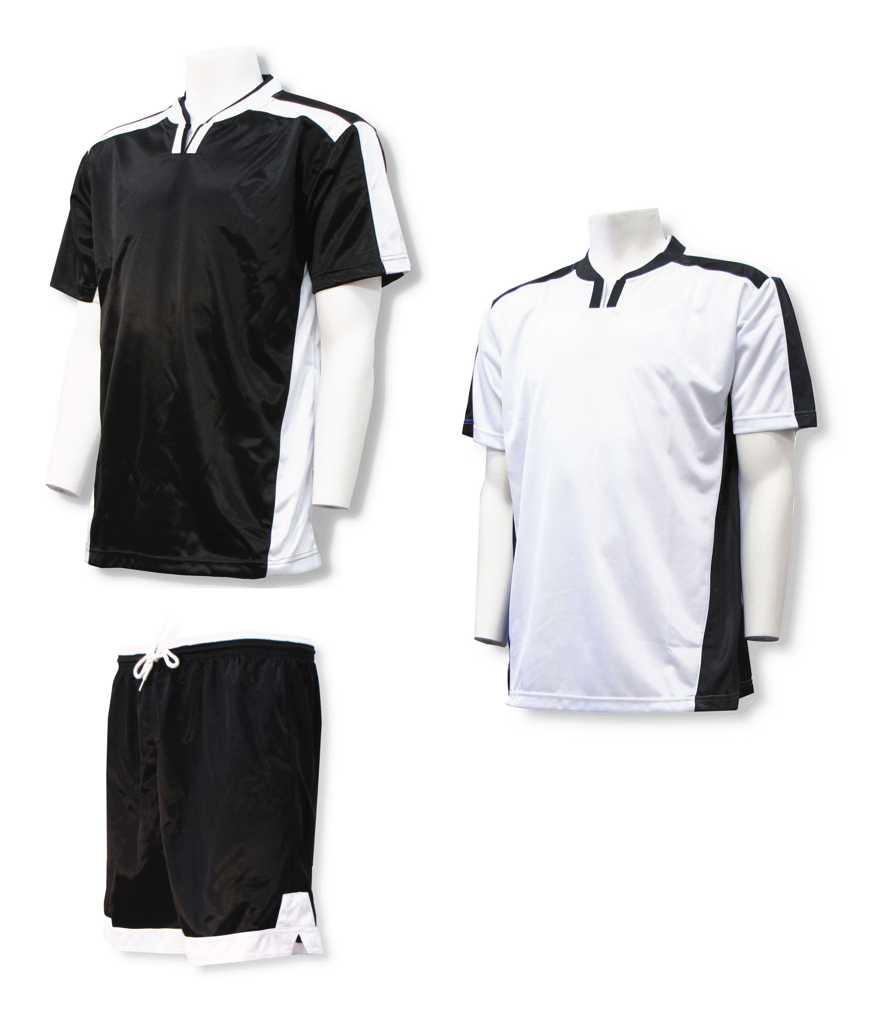 Winchester soccer uniform kit with 2 jerseys, 1 pr shorts in black/white by Code Four Athletics
