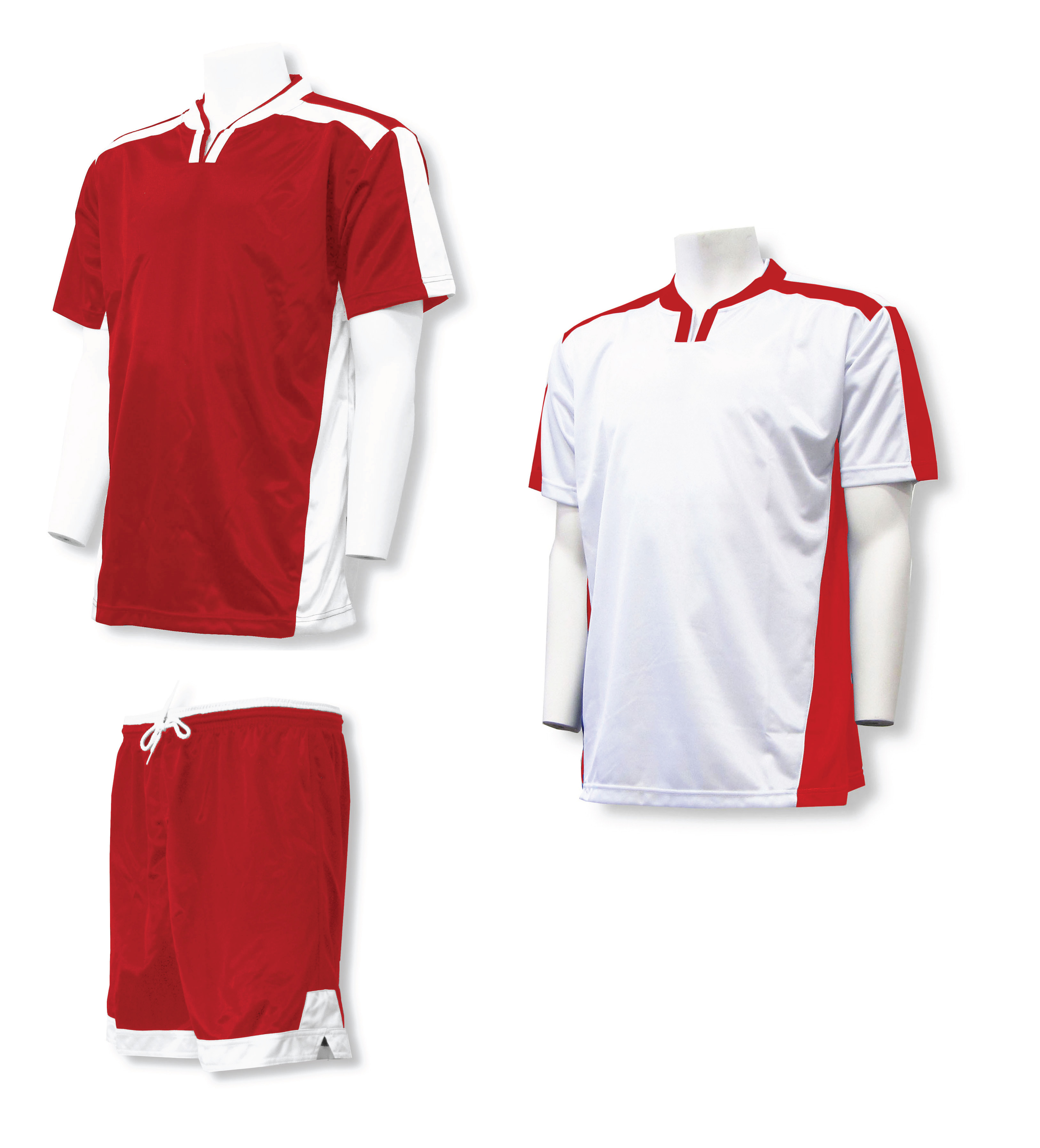 Winchester soccer uniform kit with 2 jerseys, 1 pr shorts in red/white by Code Four Athletics