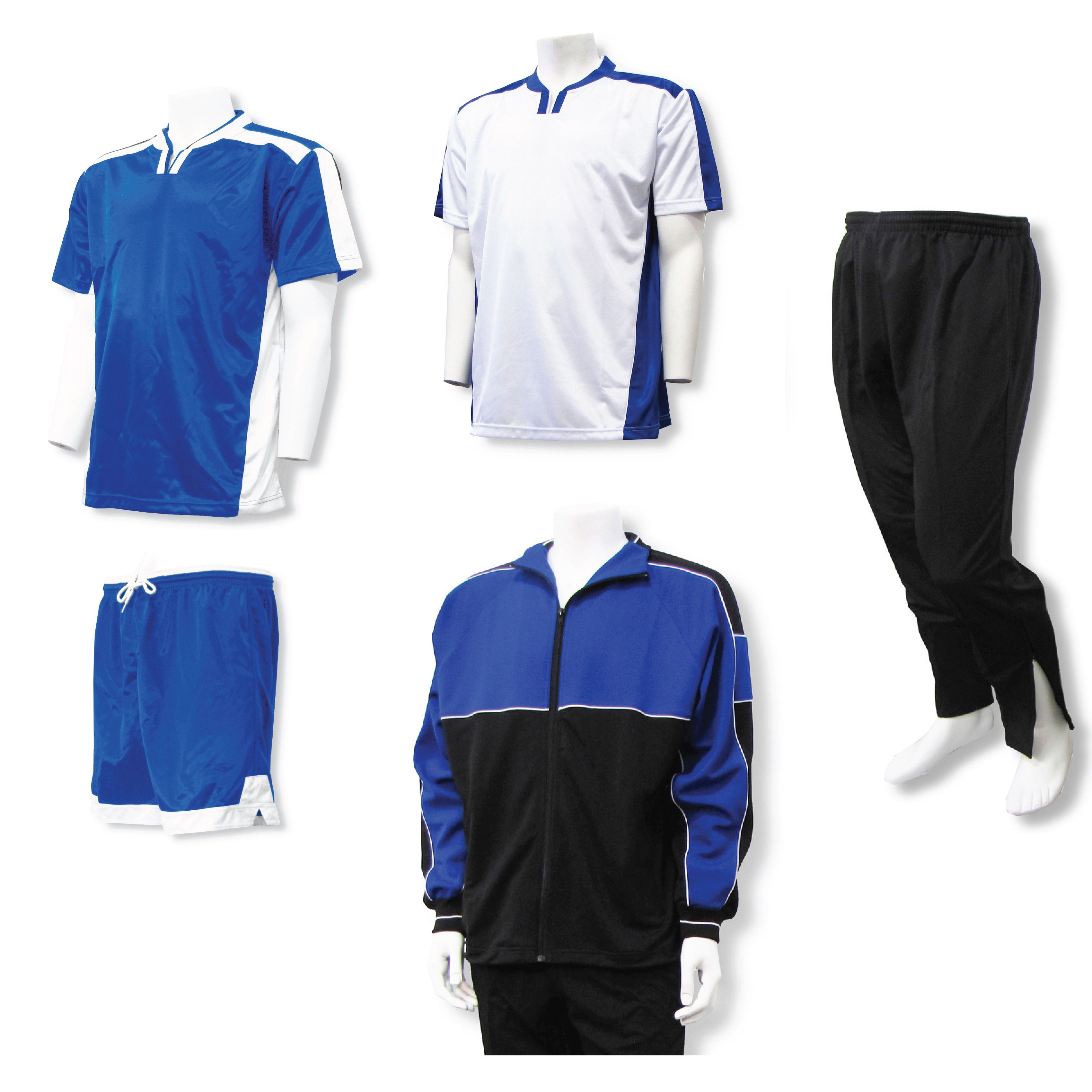 Winchester soccer team package including soccer uniform and warm-ups in royal/white by Code Four Atheltics