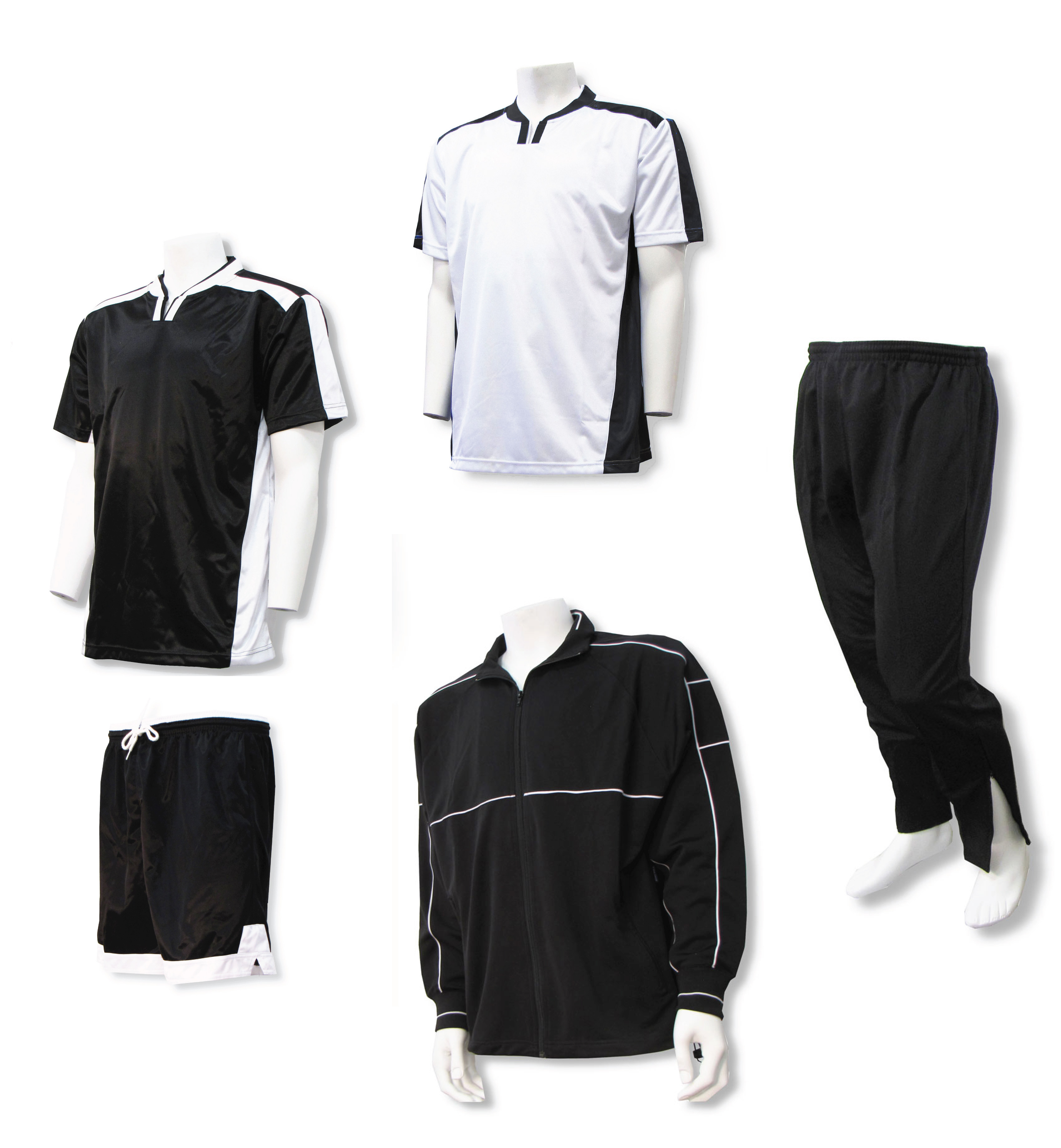 Winchester soccer team package with soccer uniform and warmups in black/white by Code Four Athletics
