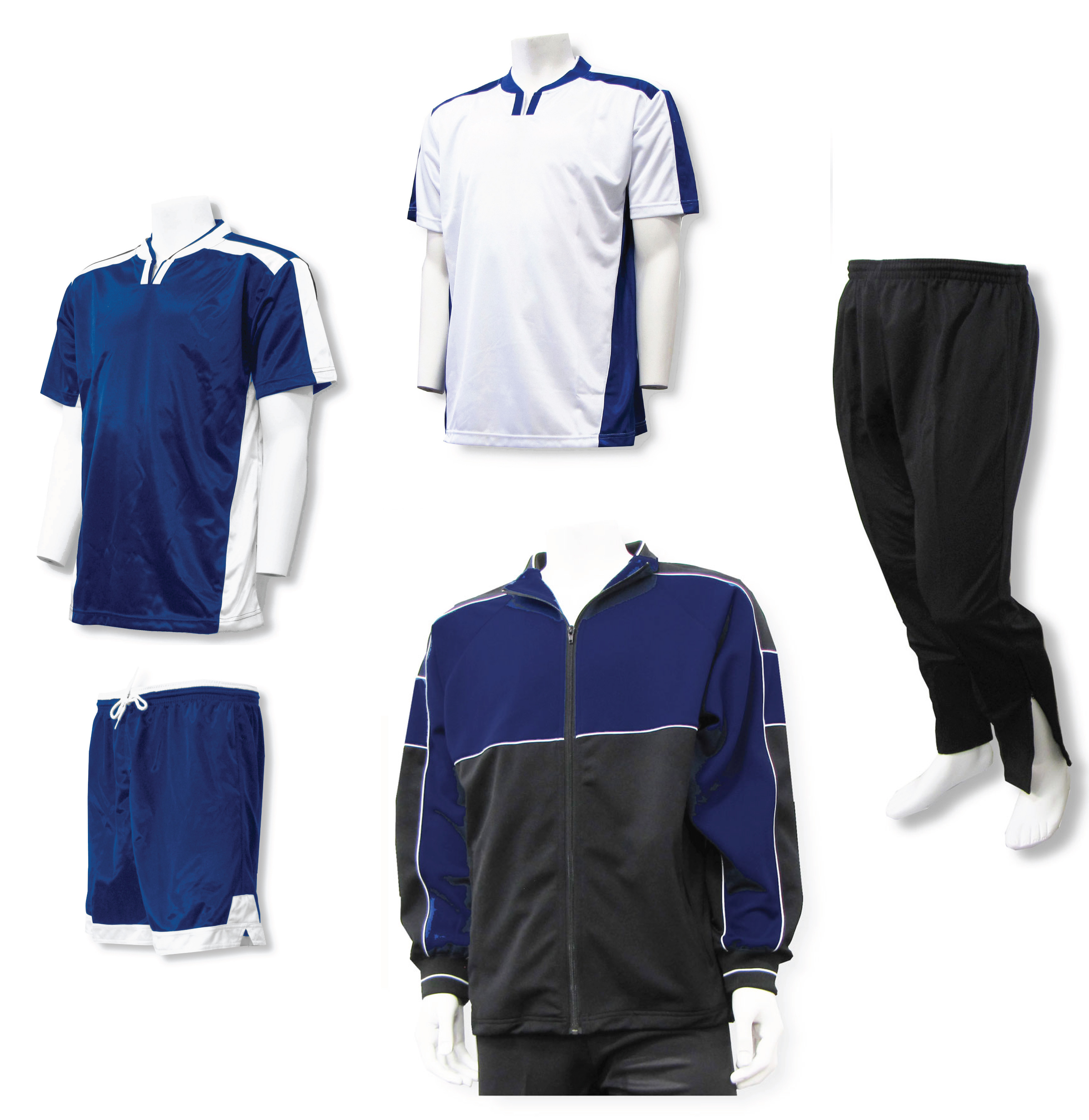 Winchester soccer team package with soccer uniform and warm-ups in navy/white by Code Four Atheltics