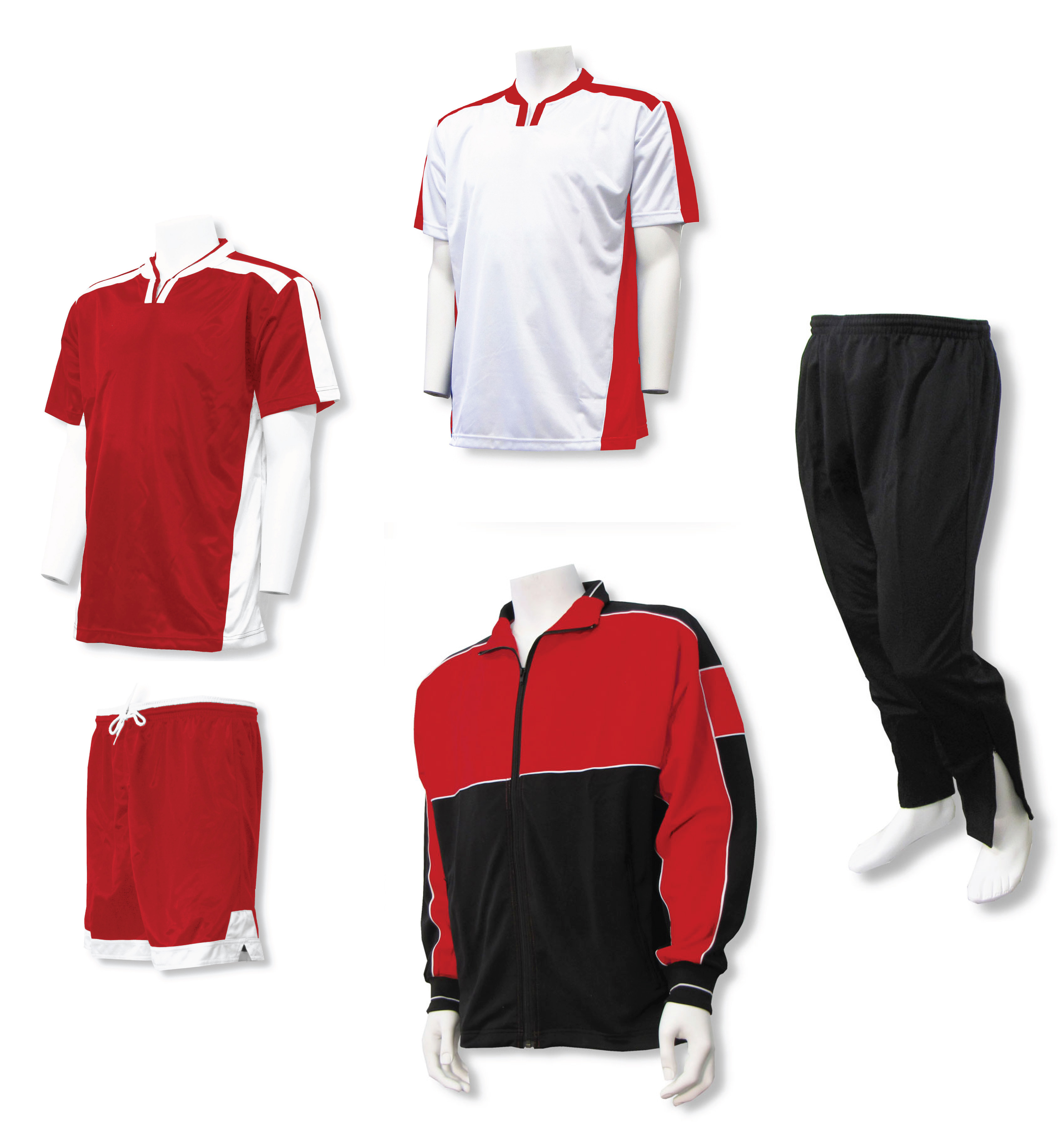 Winchester soccer team package with soccer uniform and warm-ups in red/white by Code Four Athletics