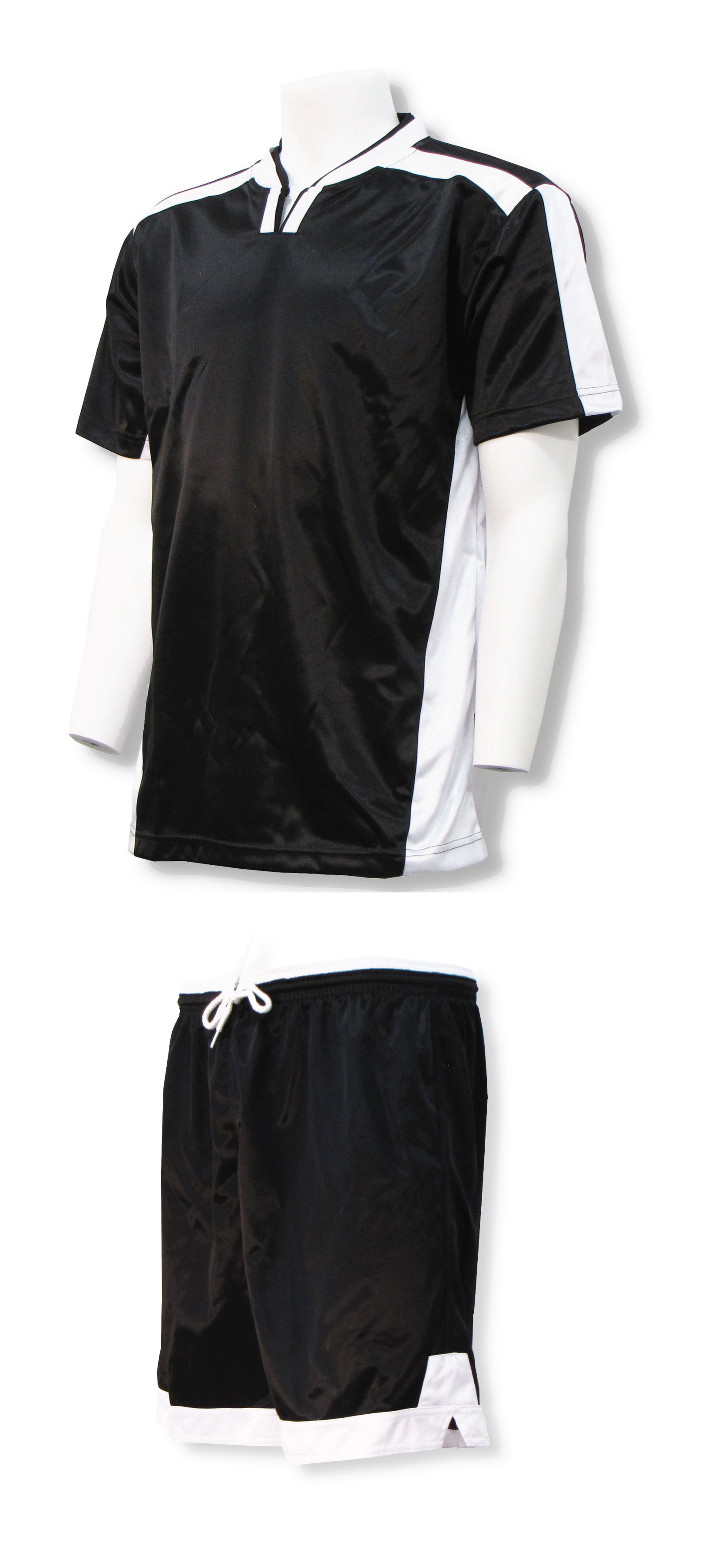 Winchester soccer jersey-short set in black/white by Code Four Athletics