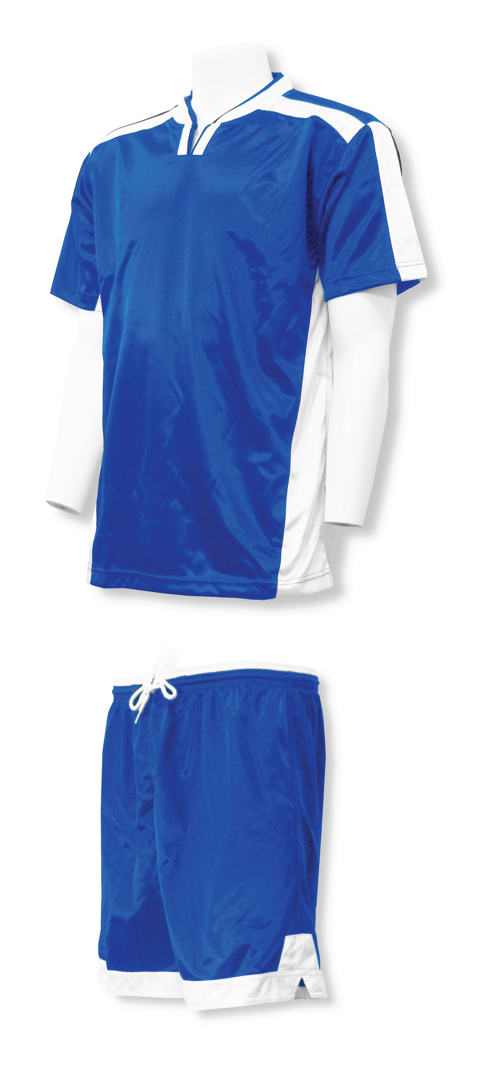 Winchester soccer jersey-short set in royal/white by Code Four Athletics