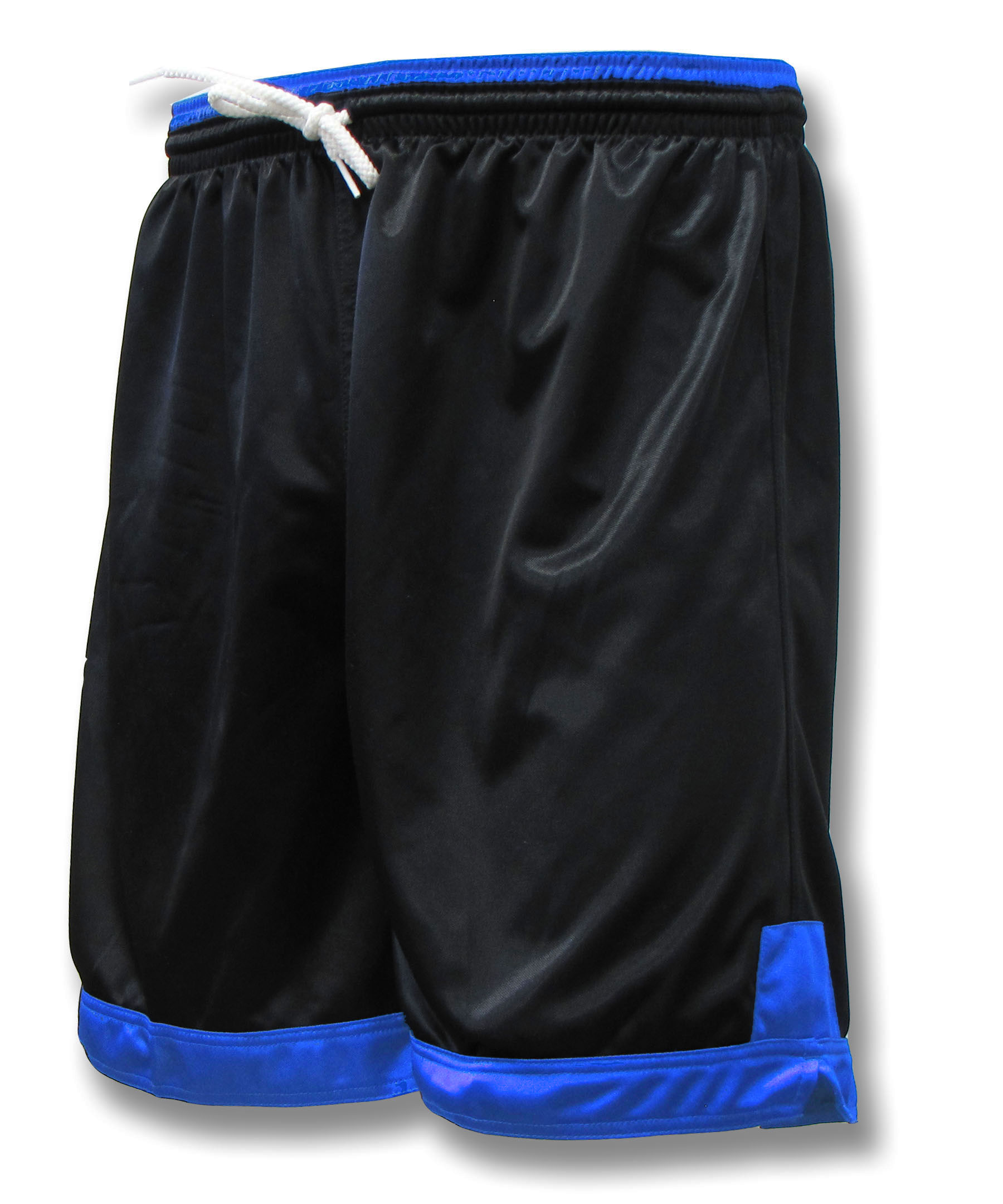 Winchester soccer shorts in black/royal by Code Four Atheltics