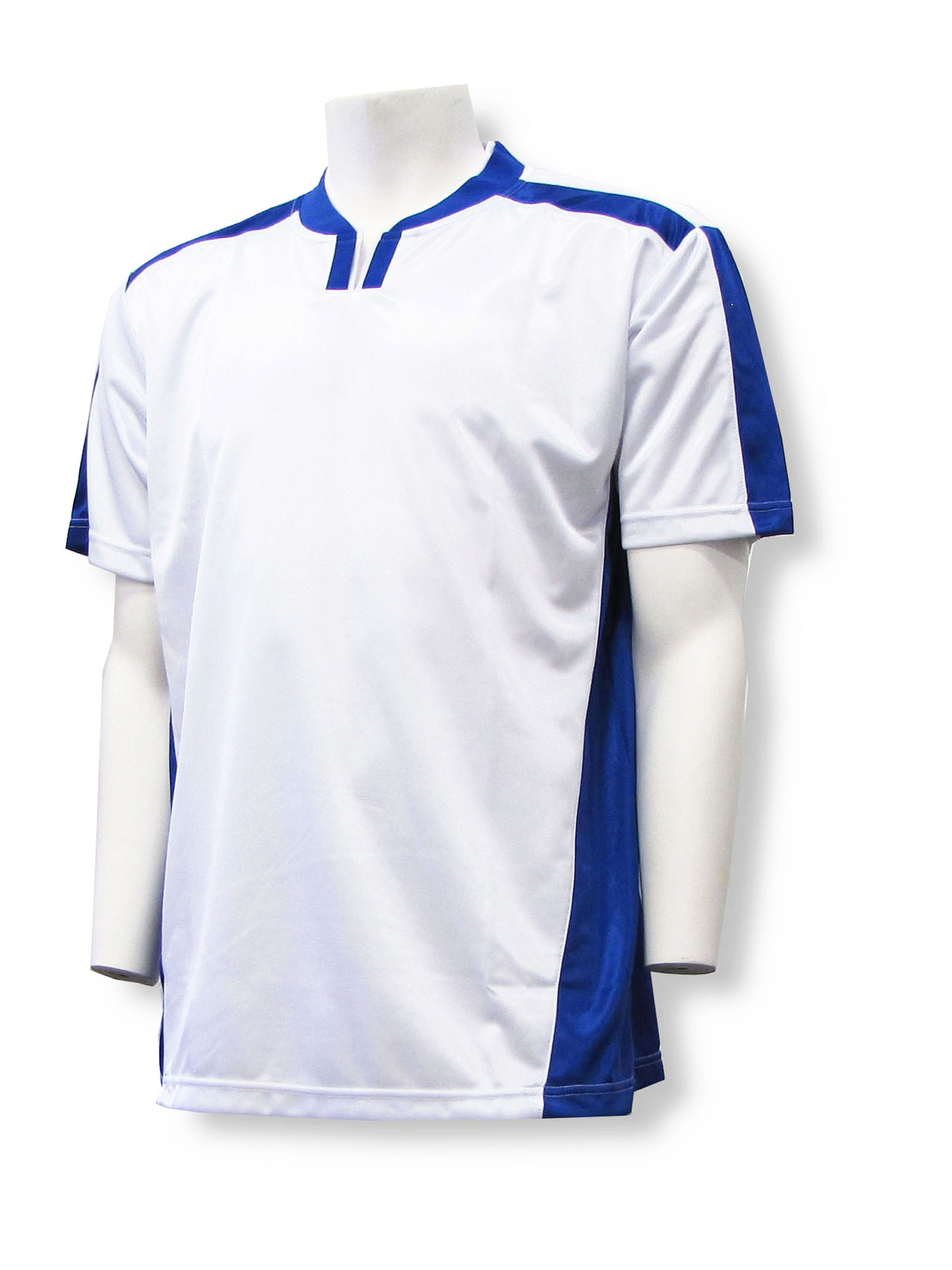 Winchester soccer jersey in white/royal by Code Four Athletics