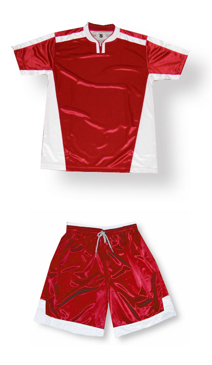 Winchester soccer jersey and shorts set in red/white by Code Four Athletics