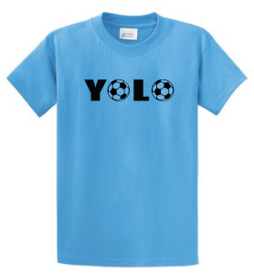 YOLO soccer tee aquatic blue