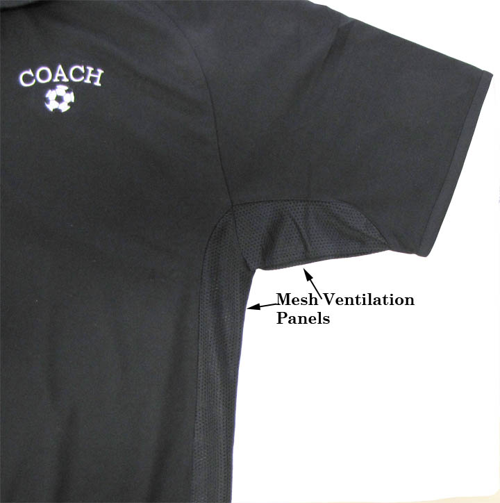 Soccer coach polo closeup of ventilation by Code Four Athletics