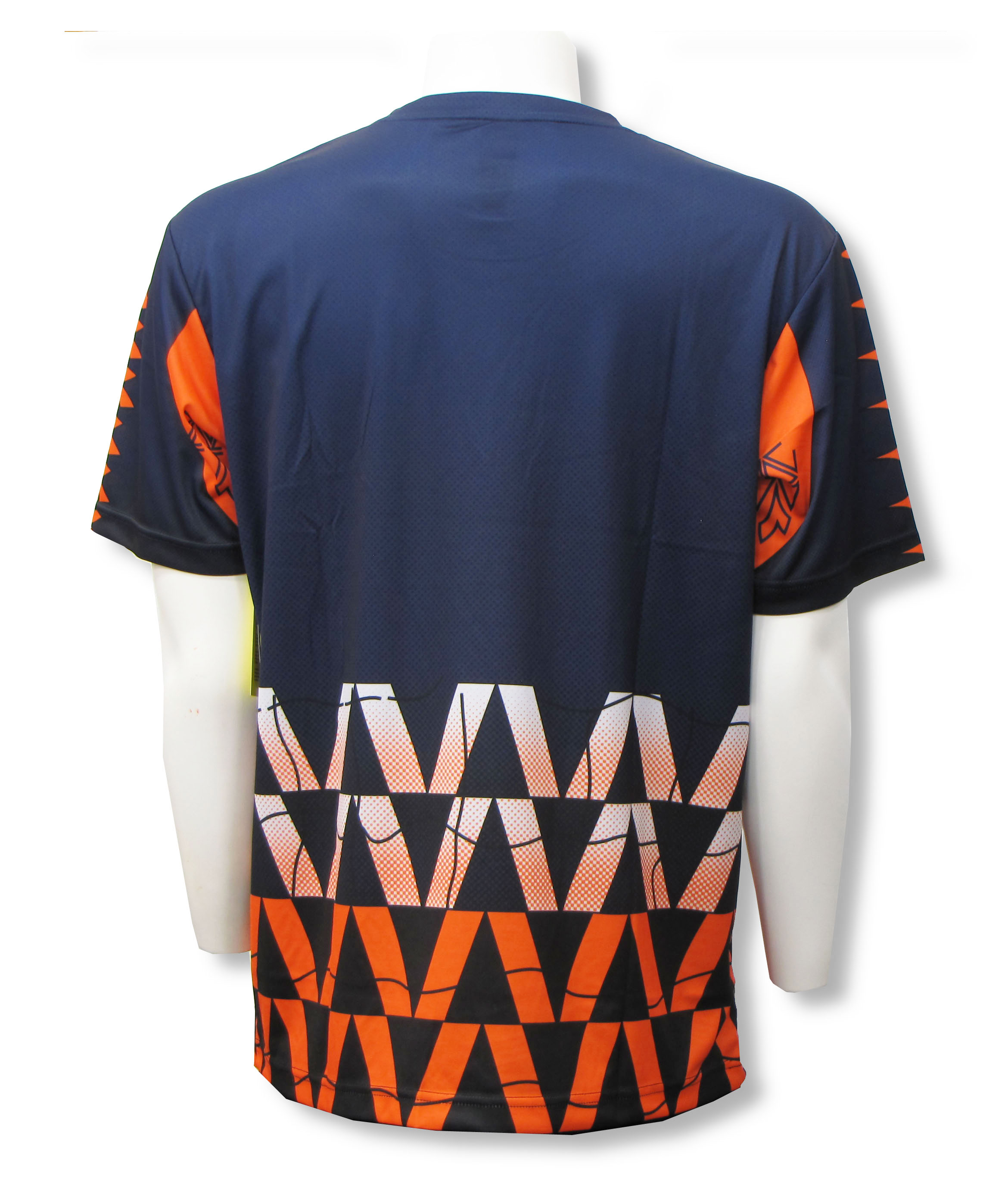Diadora Fresco short sleeve keeper jersey, back, in navy and orange by Code Four Athletics