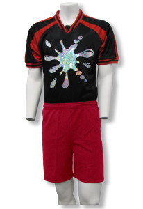 Hologram soccer jersey with red shorts