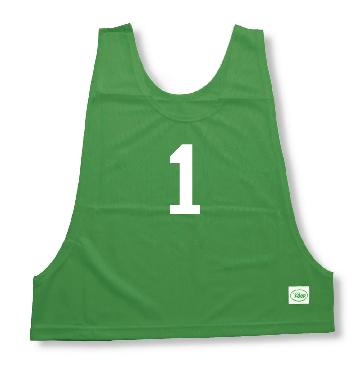 Numbered practice pinny in kelly by Code Four Athletics